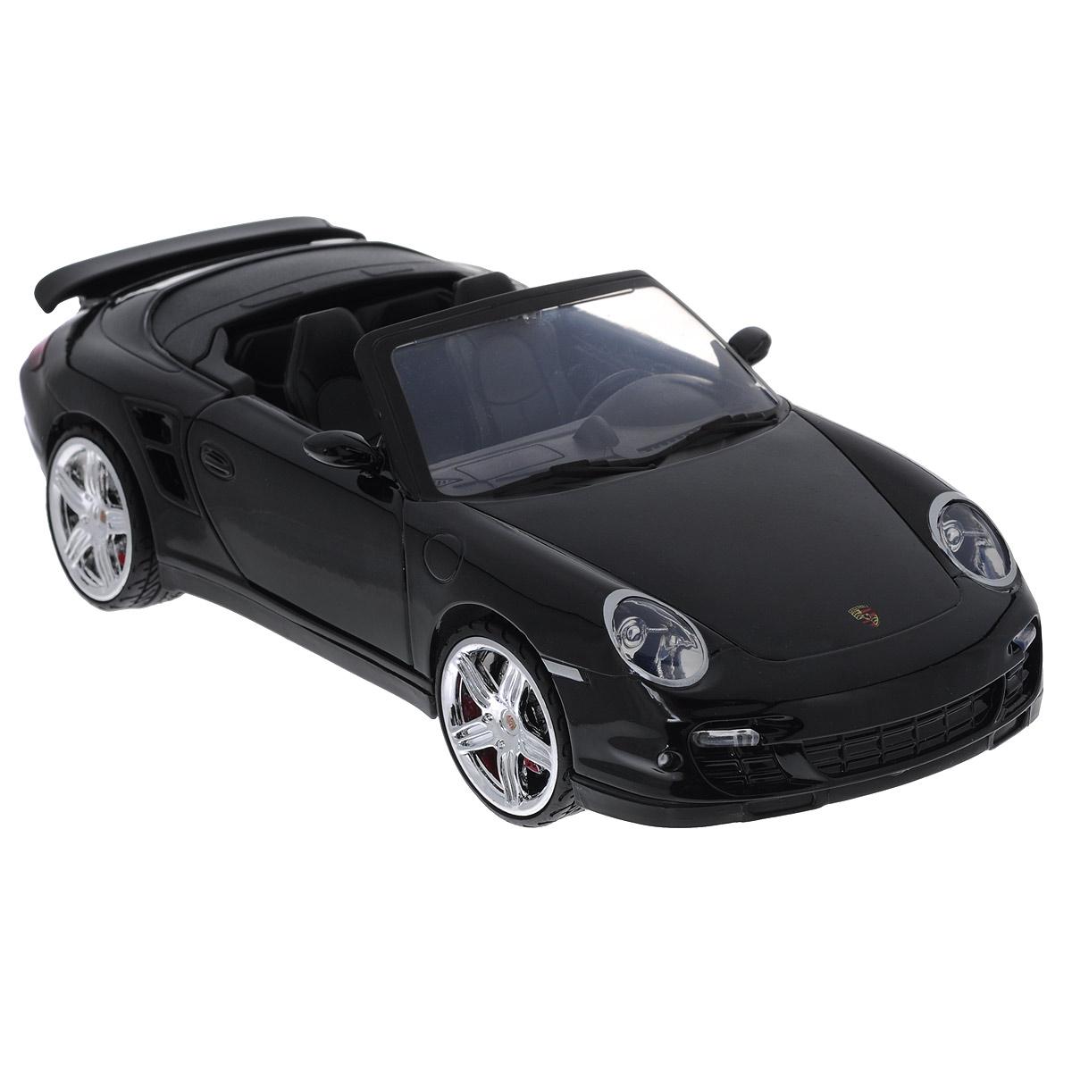 MotorMax Модель автомобиля Porsche 911 Turbo Cabriolet73183Коллекционная модель MotorMax Porsche 911 Turbo Cabriolet станет хорошим подарком для любого ценителя автомобилей. Porsche Turbo 911 Cabriolet - это ожившая классика, оборудованная по последнему слову современной техники. Еще больше комфорта и скорости! Включите этот по-настоящему удивительный автомобиль в свою личную коллекцию с масштабной моделью от MotorMax. Машинка имеет отличную детализацию и является уменьшенной копией настоящей машины. Загляните под капот или в салон, и вы сами убедитесь в этом. У машины открываются двери и капот, а также вращаются колеса. Корпус из литого металла обеспечивает модели долгий срок службы, пластиковые элементы в отделке салона позволяют добиться максимального соответствия прототипу, а резиновые шины на колесах - приятный бонус ко всем прочим достоинствам. Модель помещена на пластиковую подставку с оригинальным названием машины. Коллекционная модель автомобиля MotorMax Porsche 911 Turbo Cabriolet понравится вашему...
