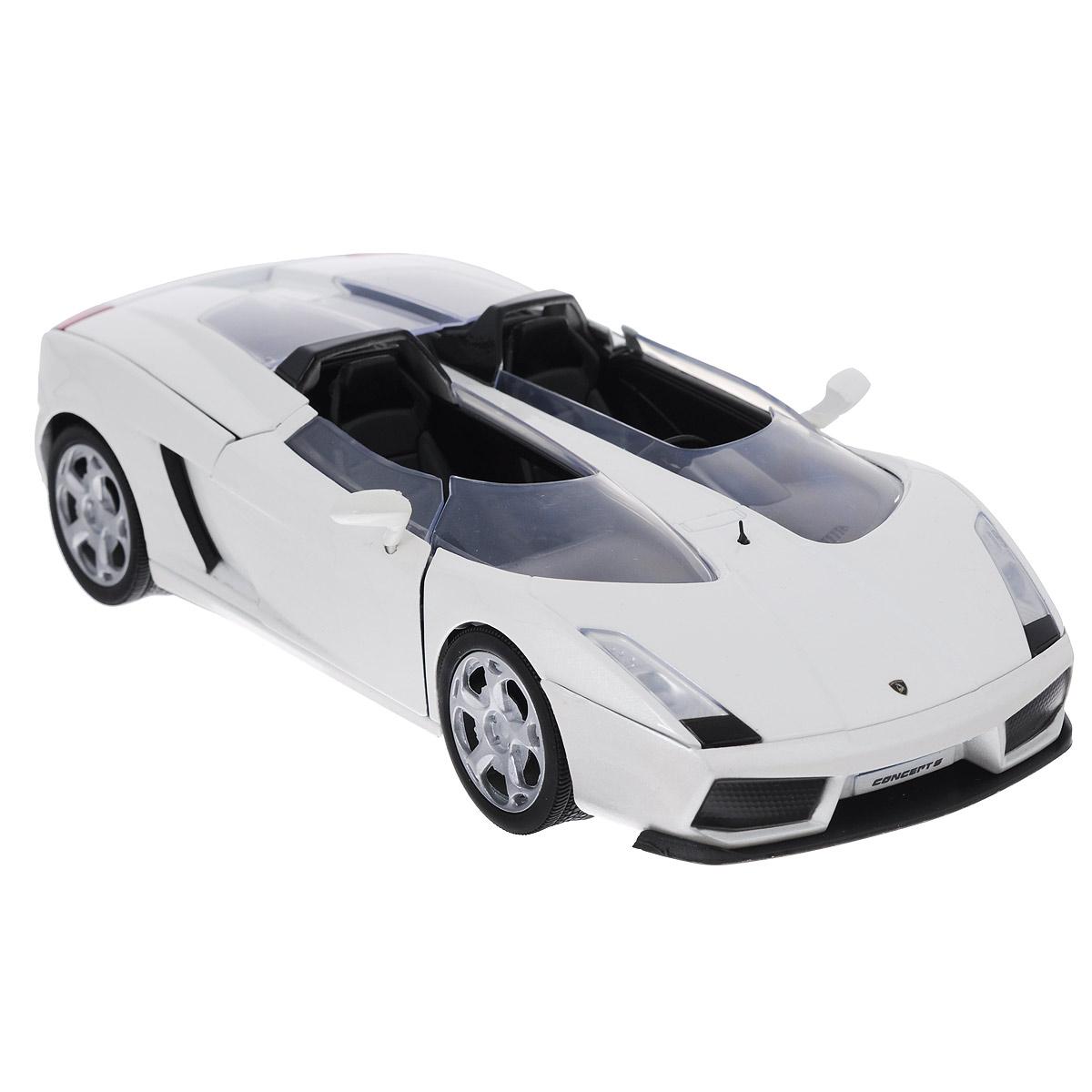 MotorMax Модель автомобиля Lamborghini Concept S73365Коллекционная модель автомобиля MotorMax Lamborghini Concept S для тех, кто любит роскошь и высокие скорости. Эта необыкновенная машина, будто бы явившаяся из фантастических фильмов, была создана итальянским автоконцерном на базе знаменитого Lamborghini Gallardo. Концепт-кар Lamborghini Concept S – совокупность по-настоящему необыкновенных решений. Чего стоит только полный отказ от лобового стекла! Вместо него у суперавто – два щитка, регулирующие поток воздуха таким образом, чтобы он оказывался поверх голов водителя и пассажира. Эти и другие особенности концепт-кара с высочайшей точностью воспроизведены в масштабной модели от MOTORMAX. Вы можете открыть двери, багажник, капот, рассмотреть все интересующее вас детали в подробностях, оценив великолепное качество игрушки. Машинка будет долго служить своему хозяину благодаря прочному цельнометаллическому корпусу, отлитому по технологии die cast. Кроме металла, в отделке использованы пластик для многих элементов...