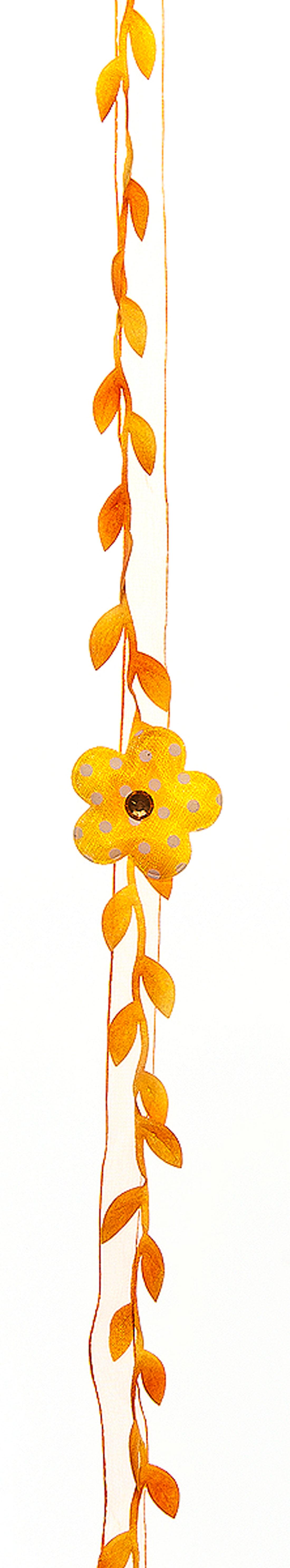 Декоративное пасхальное украшение Home Queen Гирлянда цветочная, цвет: оранжевый64486_2Пасхальное украшение Home Queen Гирлянда цветочная изготовлено из полиэстера и представляет собой композицию из декоративных лент и текстильных цветов, декорированных крупными стразами. Такое украшение прекрасно оформит интерьер дома или станет замечательным подарком для друзей и близких на Пасху. Длина гирлянды: 23 см.