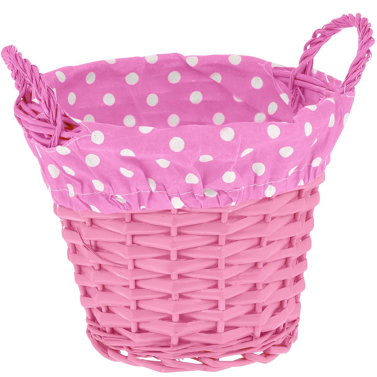 Корзинка Home Queen Домашняя, цвет: розовый, 20 см х 15 см66837_6Круглая корзинка Home Queen Домашняя предназначена для хранения различных мелочей и сервировки стола. Изделие выполнено из плетеных прутьев ивы, внутренняя поверхность обтянута подкладкой из полиэстера с принтом в мелкий горошек. Корзинка оснащена двумя плетеными ручками. Имеет жесткую форму, прекрасно подходит для хранения и переноски пищевых продуктов. Такая оригинальная корзинка станет ярким украшением стола. Идеальный вариант для хранения пасхальных яиц, куличей или хлеба. Текстильная подкладка легко снимается. Диаметр корзинки: 20 см. Высота корзинки: 15 см. Высота ручек: 5 см.