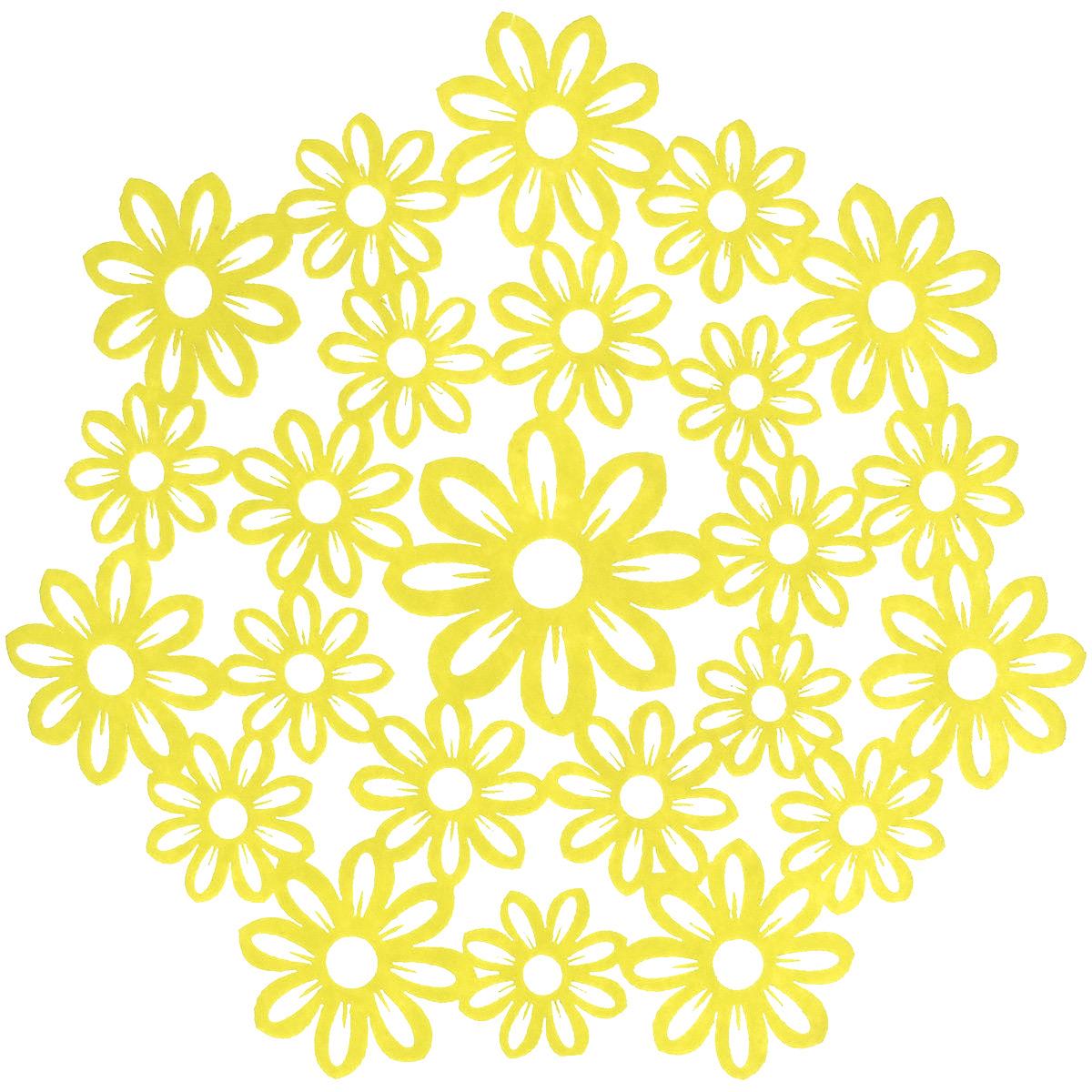 Салфетка Home Queen Незабудки, цвет: желтый, диаметр 28 см66840_1Круглая салфетка Home Queen Незабудки выполнена из фетра и оснащена красивой перфорацией в виде цветов. Вы можете использовать салфетку для декорирования стола, комода, журнального столика. В любом случае она добавит в ваш дом стиля, изысканности и неповторимости и убережет мебель от царапин и потертостей. Диаметр салфетки: 28 см.