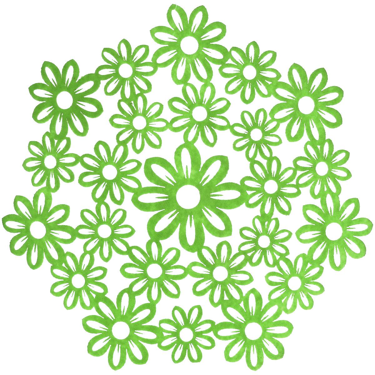 Салфетка Home Queen Незабудки, цвет: зеленый, диаметр 28 см66840_2Круглая салфетка Home Queen Незабудки выполнена из фетра и оснащена красивой перфорацией в виде цветов. Вы можете использовать салфетку для декорирования стола, комода, журнального столика. В любом случае она добавит в ваш дом стиля, изысканности и неповторимости и убережет мебель от царапин и потертостей. Диаметр салфетки: 28 см.