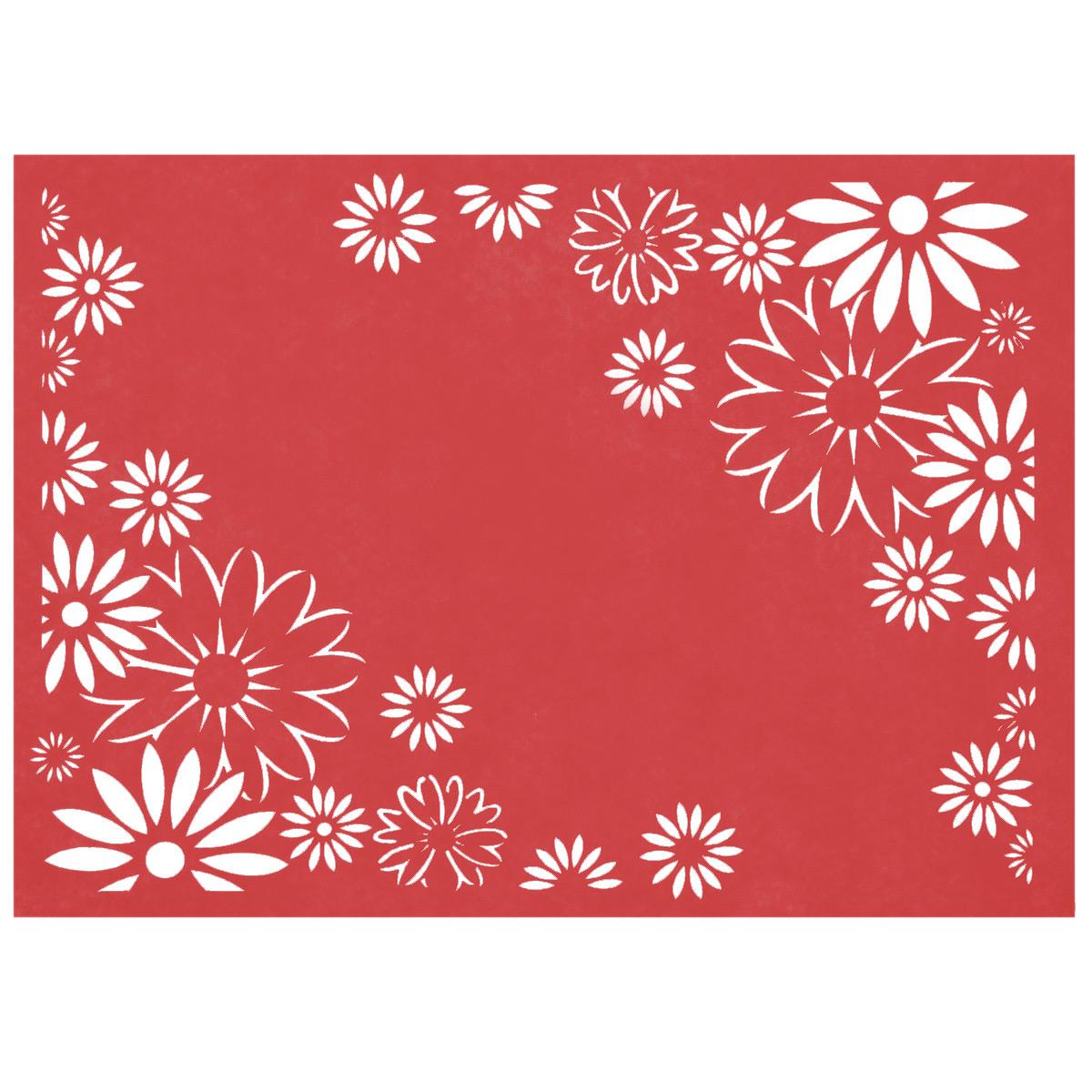 Салфетка Home Queen Лучезарность, цвет: красный, 30 х 40 х 0,2 см66844_4Прямоугольная салфетка Home Queen Лучезарность выполнена из фетра и оснащена красивой перфорацией в виде цветов. Вы можете использовать салфетку для декорирования стола, комода, журнального столика. В любом случае она добавит в ваш дом стиля, изысканности и неповторимости и убережет мебель от царапин и потертостей. Размер салфетки: 30 см х 40 см х 0,2 см.