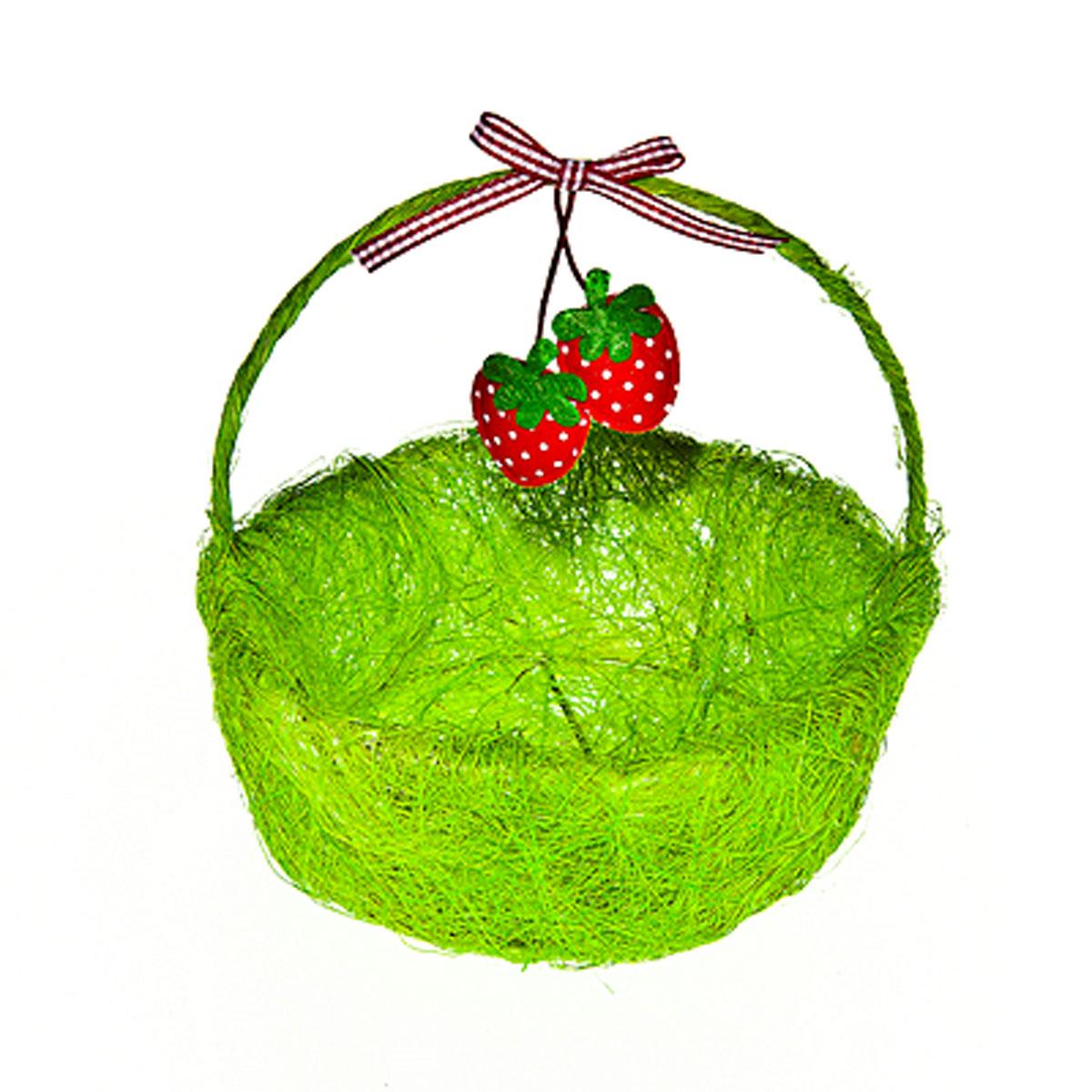 Корзина декоративная Home Queen Ягоды, цвет: зеленый, 14 х 13 х 5 см64328_1Декоративная корзина Home Queen Ягоды предназначена для хранения различных мелочей и аксессуаров. Изделие имеет металлический каркас, обтянутый нитями из полиэстера. Корзина оснащена удобной ручкой и декорирована подвесным украшением в виде текстильных ягод с бантиком. Такая корзина станет оригинальным и необычным подарком или украшением интерьера. Размер корзины: 14 см х 13 см х 5 см. Диаметр дна: 10 см. Высота ручки: 10 см.