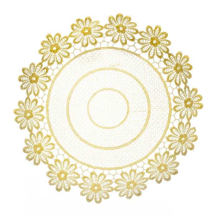 Тарелка декоративная Home Queen Ромашки, цвет: кремовый, диаметр 28,5 см64292Тарелка Home Queen Ромашки предназначена для украшения интерьера и сервировки стола. Изделие выполнено из полиэстера с красивым плетением по краям в виде цветочных узоров, имеет жесткую форму. Такая оригинальная тарелка станет ярким украшением стола. Идеальный вариант для хранения пасхальных яиц, хлеба или конфет. Диаметр тарелки: 28,5 см. Высота тарелки: 5 см.