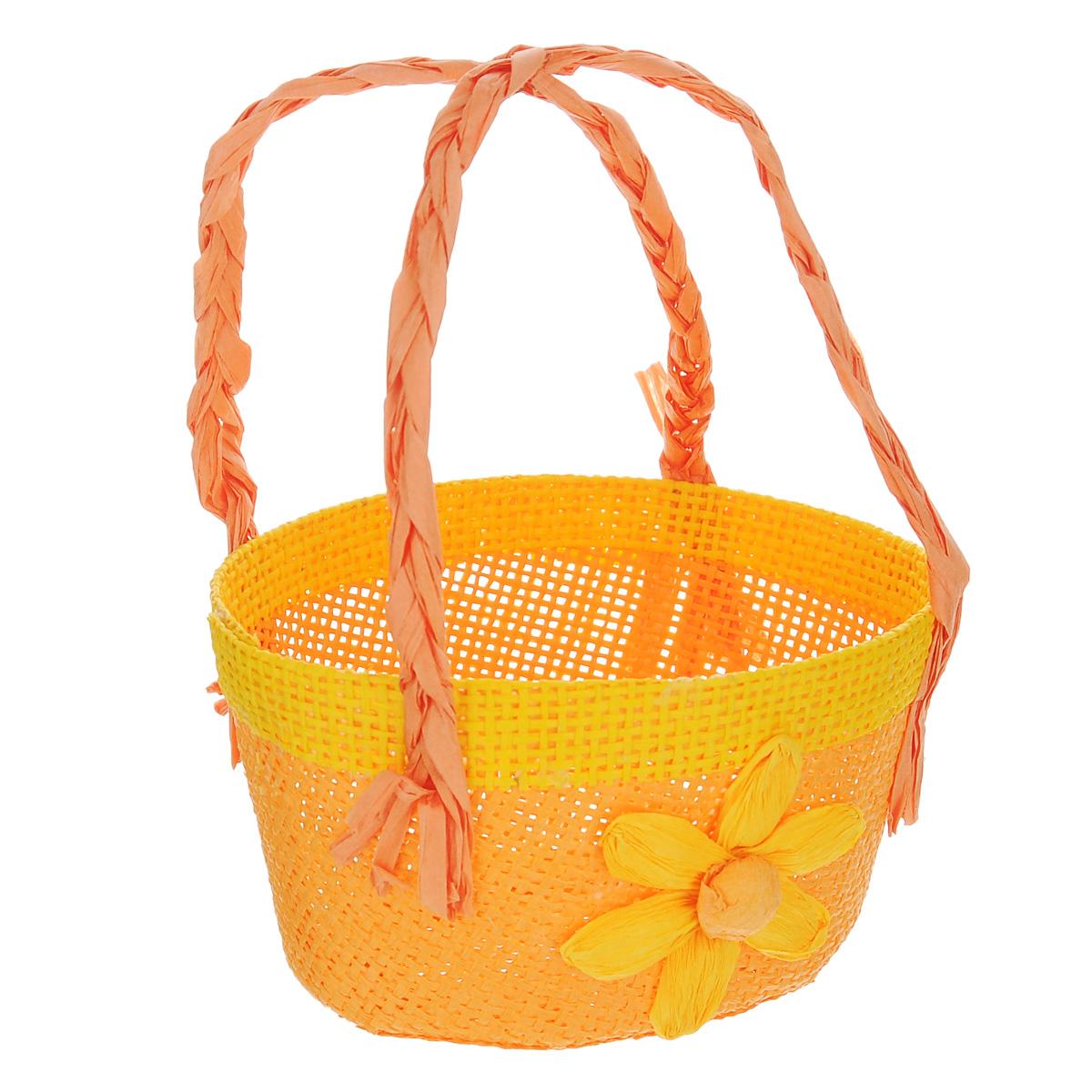 Корзина декоративная Home Queen Цветочная, цвет: оранжевый, 12 х 10 х 7,5 см66821_2Корзина Home Queen Цветочная, выполненная из бумаги и полиэстера, предназначена для хранения различных мелочей. Изделие декорировано цветком и оснащено двумя плетеными ручками. Такая корзина станет ярким и необычным подарком или украшением интерьера на Пасху. Размер: 12 см х 10 см х 7,5 см. Высота ручек: 10 см.