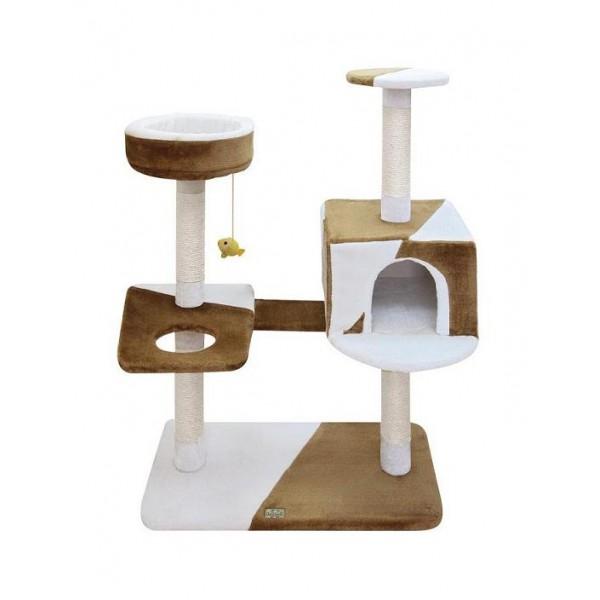 Игровая площадка для кошек Fauna Camilla, цвет: бежевый, коричневый, 73 см х 40 см х 105 см55989Игровая площадка для кошек Fauna Camilla обязательно понравится вашей кошек и станет ее излюбленным местом для отдыха и игр. Площадка изготовлена из ДВП и обтянута мягким плюшевым текстилем. Имеет несколько уровней: прямоугольная плоская нижняя площадка, домик, круглая верхняя площадка, круглый лежак, плоская площадка с кольцом. Для игр предусмотрена подвесная игрушка на веревке, а чтобы поточить когти - несколько столбиков-когтеточек. Площадка сконструирована так, чтобы кошка подумала, что перед ней большое дерево, на которое можно вскарабкаться. В домик кошка может забраться, чтобы спрятаться и поспать, в лежак с мягкими бортиками - чтобы подремать, а полки станут прекрасным местом для развлечений. Игровые площадки Fauna созданы с любовью, вниманием и заботой о ваших кошках. Этим пушистым непоседам нравится играть и прыгать, забираться повыше, точить когти, прятаться в укромных местах и сладко спать в теплых уютных домиках. Компания Fauna International...
