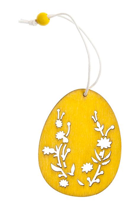 Декоративное подвесное украшение Home Queen Узорный орнамент. Яйцо, цвет: желтый66811_1Декоративное украшение Home Queen Узорный орнамент. Яйцо изготовлено из высококачественного дерева. Украшение выполнено в виде яйца и декорировано перфорацией. С помощью текстильной петельки изделие можно повесить в любом удобном для вас месте. Такое украшение прекрасно оформит интерьер дома или станет замечательным подарком для друзей и близких на Пасху. Размер фигурки: 4,5 см х 0,2 см х 6 см.