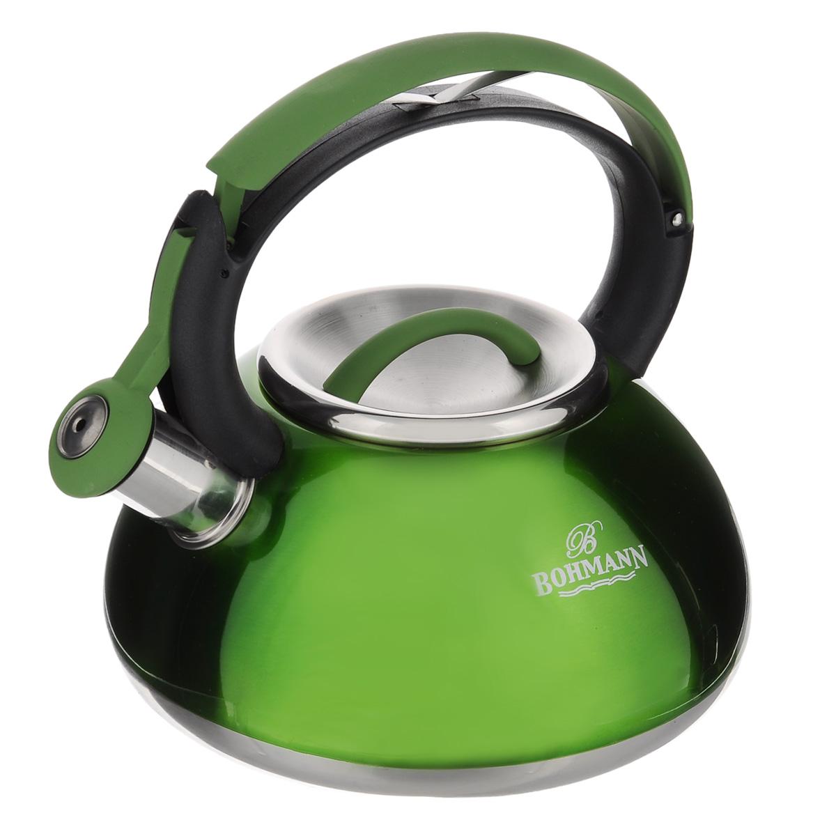 Чайник Bohmann со свистком, цвет: зеленый, 3 л. BH - 9939BH - 9939Чайник Bohmann изготовлен из высококачественной нержавеющей стали с глянцевым цветным покрытием. Фиксированная ручка изготовлена из бакелита с прорезиненным покрытием. Носик чайника оснащен откидным свистком, звуковой сигнал которого подскажет, когда закипит вода. Свисток открывается нажатием на ручку. Чайник Bohmann - качественное исполнение и стильное решение для вашей кухни. Подходит для использования на газовых, стеклокерамических, электрических, галогеновых плитах, не пригоден для индукционных плит. Также изделие можно мыть в посудомоечной машине. Высота чайника (без учета ручки и крышки): 10,5 см. Высота чайника (с учетом ручки): 22 см. Диаметр основания чайника: 21 см.