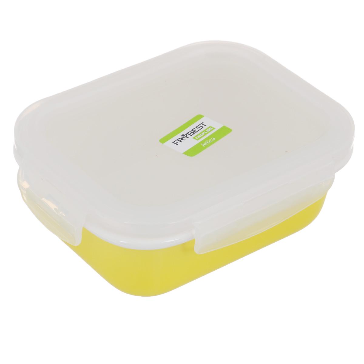 Контейнер Frybest Attica Rainbow, с крышкой, цвет: желтый, 370 млRN-037Контейнер Frybest Attica Rainbow изготовлен из высококачественного фарфора, покрытого слоем сверкающей глазури. Продукт экологичен, так как не содержит токсичных и ядовитых материалов. Цвет материала не блекнет со временем, а покрытие не впитывает запах продуктов. Контейнер оснащен прозрачной пластиковой крышкой, которая плотно закрывается на 4 защелки. Превосходная герметичность позволяет дольше сохранять свежесть продуктов. Утонченный европейский дизайн: прекрасное украшение стола. Подходит для мытья в посудомоечной машине, хранения в холодильной и морозильной камерах. Объем: 370 мл.