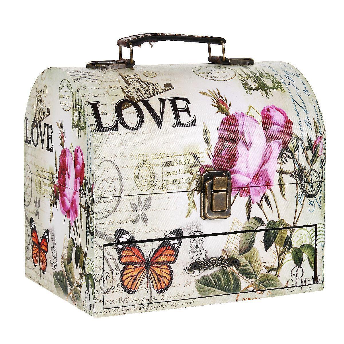 Шкатулка для хранения Love, 20 х 18 х 15 смTL3619Шкатулка для хранения Love, выполненная из МДФ, оснащена удобным металлическим замком, металлическими креплениями и ручкой для удобной транспортировки шкатулки. Шкатулка обтянута по всей поверхности текстилем с изображением цветов и бабочек. Внутри шкатулки имеется одно вместительное отделение и выдвижной ящик для мелочей, также обтянутые текстилем. Шкатулка для хранения Love станет оригинальным украшением интерьера и позволит хранить множество украшений, бижутерии, а также предметов шитья или рукоделия.