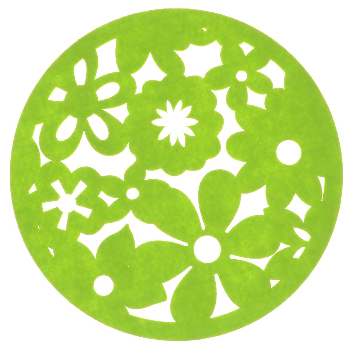 Салфетка Home Queen Цветы, цвет: зеленый, диаметр 30 см64494_5Круглая салфетка Home Queen Цветы выполнена из фетра и декорирована рельефным цветочным рисунком. Вы можете использовать салфетку для украшения стола, комода, журнального столика во время праздников, в том числе в Пасху. В любом случае она добавит в ваш дом стиля, изысканности и неповторимости. Диаметр: 30 см.