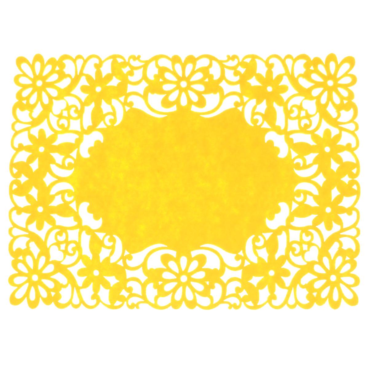 Салфетка Home Queen Цветы, цвет: желтый, 40 см х 30 см64498_4Прямоугольная салфетка Home Queen Цветы изготовлена из фетра и оформлена изысканной перфорацией в виде цветочных узоров. Такая салфетка прекрасно подойдет для украшения интерьера кухни, она сбережет стол от высоких температур и грязи.