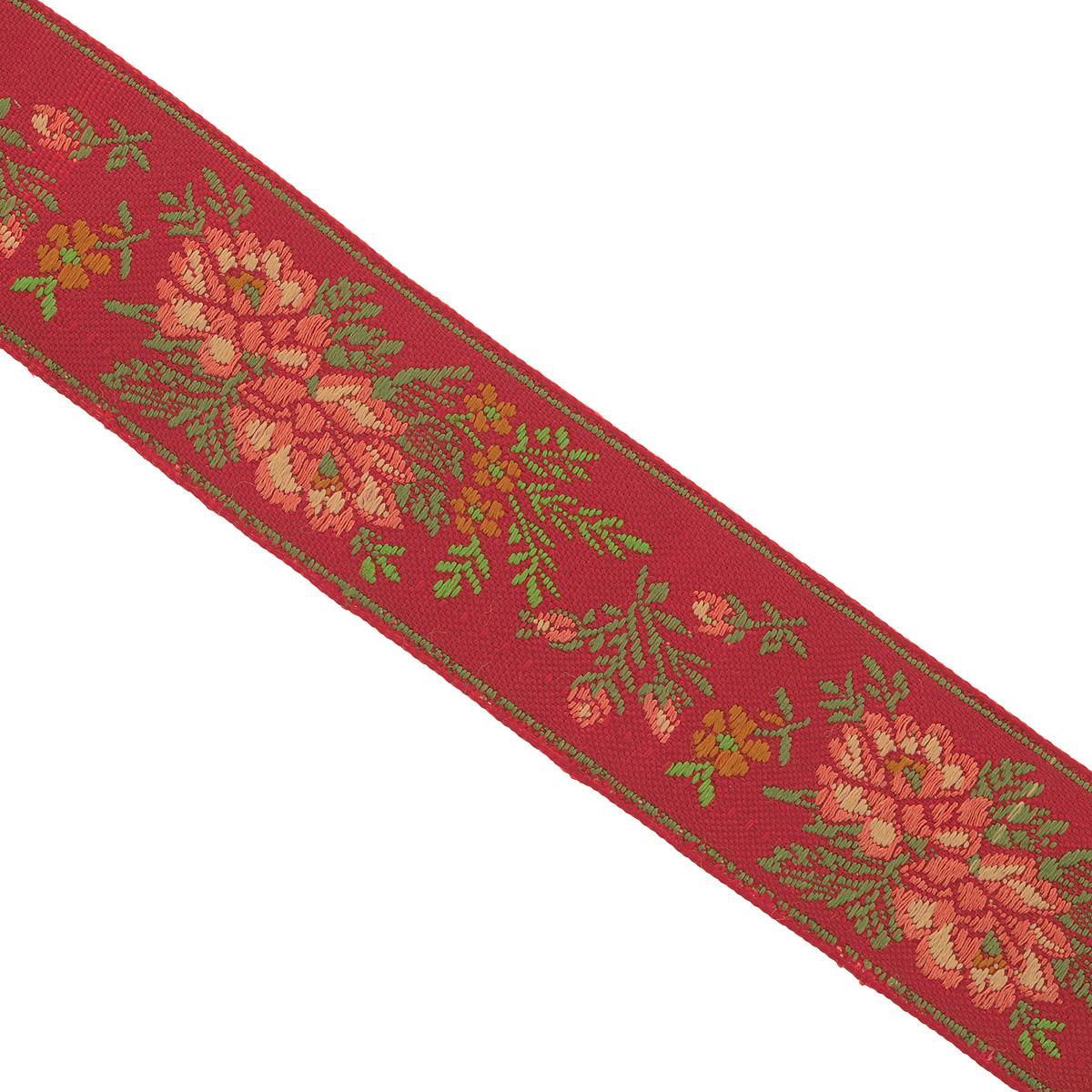 Тесьма декоративная Астра, цвет: красный, ширина 3 см, длина 900 см7703456_24Декоративная тесьма Астра выполнена из текстиля и оформлена оригинальными жаккардовыми цветами. Такая тесьма идеально подойдет для оформления различных творческих работ таких, как скрапбукинг, аппликация, декор коробок, открыток и многого другого. Изделие станет незаменимым элементом в создании рукотворного шедевра.