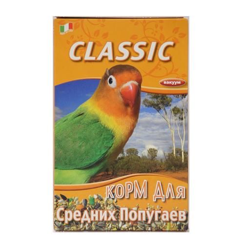 Корм для средних попугаев Fiory Classic, 400 г8033Корм Fiory Classic - классическая смесь для попугаев средних размеров. Корм упакован в вакуум. Готов к употреблению. Состав: злаковые, семена полосатого подсолнечника, гречиха, семена канареечника, семена конопли, пекарные продукты. Товар сертифицирован.