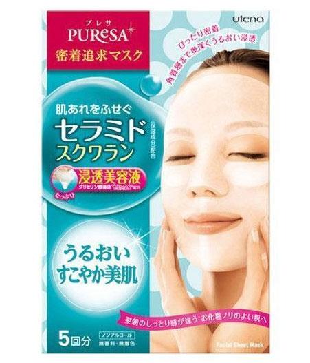Utena Питательная маска Puresa для лица с церамидами и скваланом 5шт.х15 мл.297524Маски серии Puresa, пропитанные увлажня-ющими и питательными ингредиентами - эффективный способ преобразить Вашу кожу, сделать ее упругой, здоровой и красивой. Благодаря тому, что сыворотка, которой пропитана маска, имеет тройную концентрацию активных компонентов, маска за короткое время отдает всю силу полезных ингредиентов Вашей коже. Церамиды, в составе сыворотки, являются важнейшими компонентами клеточной мембраны, обеспечивающие нормальное клеточное дыхание. Проникая в кожу, способствуют эффективному удержанию влаги в ее структуре. Сквалан так же прекрасно увлажняет и смягчает, предотвращает появление ощущения сухости кожи. Маска плотно прилегает к коже, обеспечивая этим интенсивное проникновение лосьона в роговой слой кожи. Не содержит красителей и ароматизаторов.