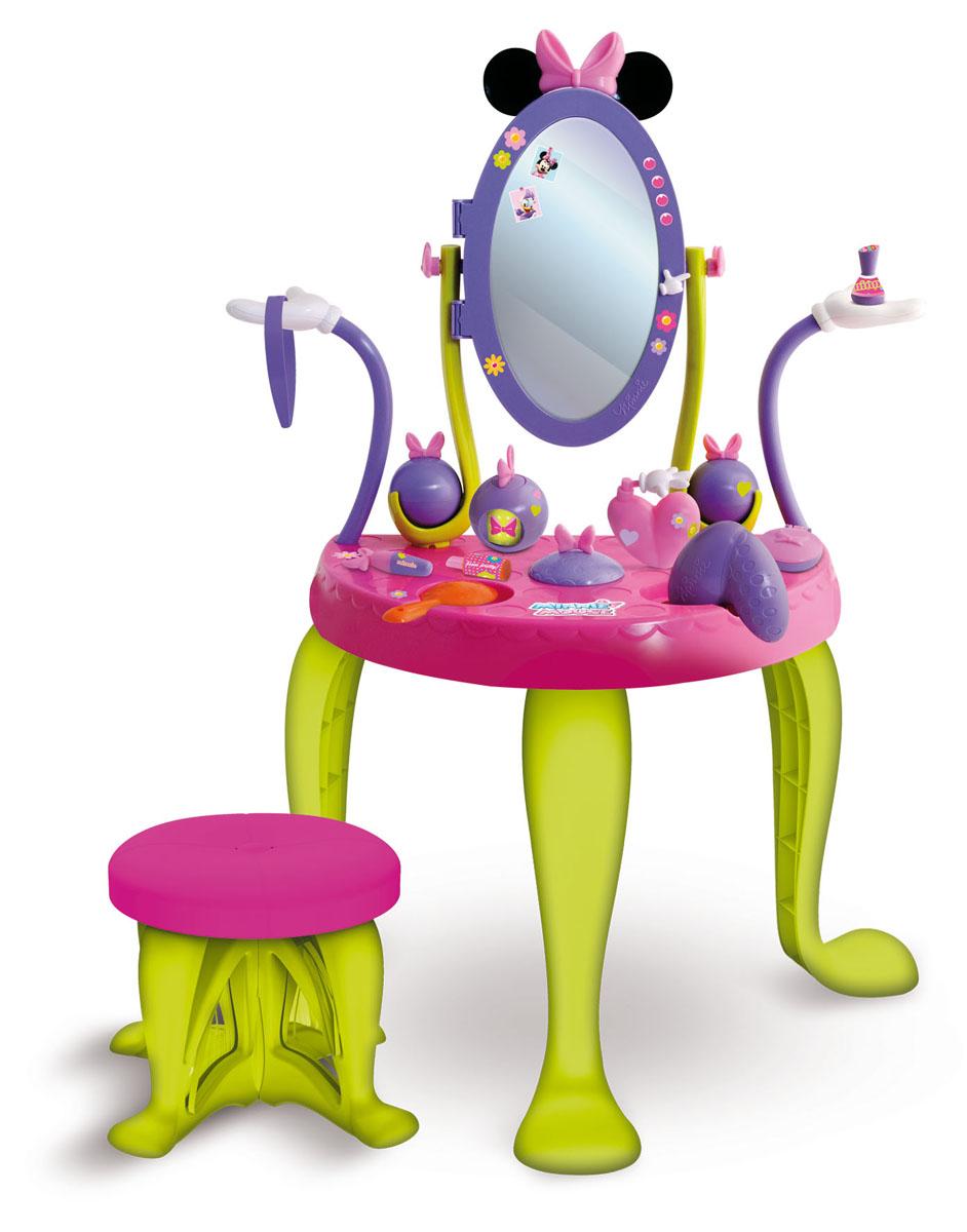 Туалетный столик 181236 Minnie с аксессуарами, в коробке TM Disney181236MI2Туалетный столик Minnie – это идеальное место для хранения детской косметики, расчесок, украшений и других предметов, необходимых для маленькой модницы. Этот туалетный столик украшен красивой мышкой Minnie. Полочки у столика в виде цветочков, что непременно понравится вашей дочурке. Туалетный столик оснащен высокой стойкой, зеркалом в виде сердца (можно наклонять), удобным табуретом и достаточно большой поверхностью стола, чтобы расположить там все свои украшения. Стойка с зеркалом снимается со столика и его можно использовать отдельно. В комплекте: - расческа, - 2 резиночки для волос куклы или самого ребенка, - 2 заколки для волос, - 1 браслет, - 2 флакона для духов, - 2 коробочки для других принадлежностей. Высота туалетного столика: 93 см.