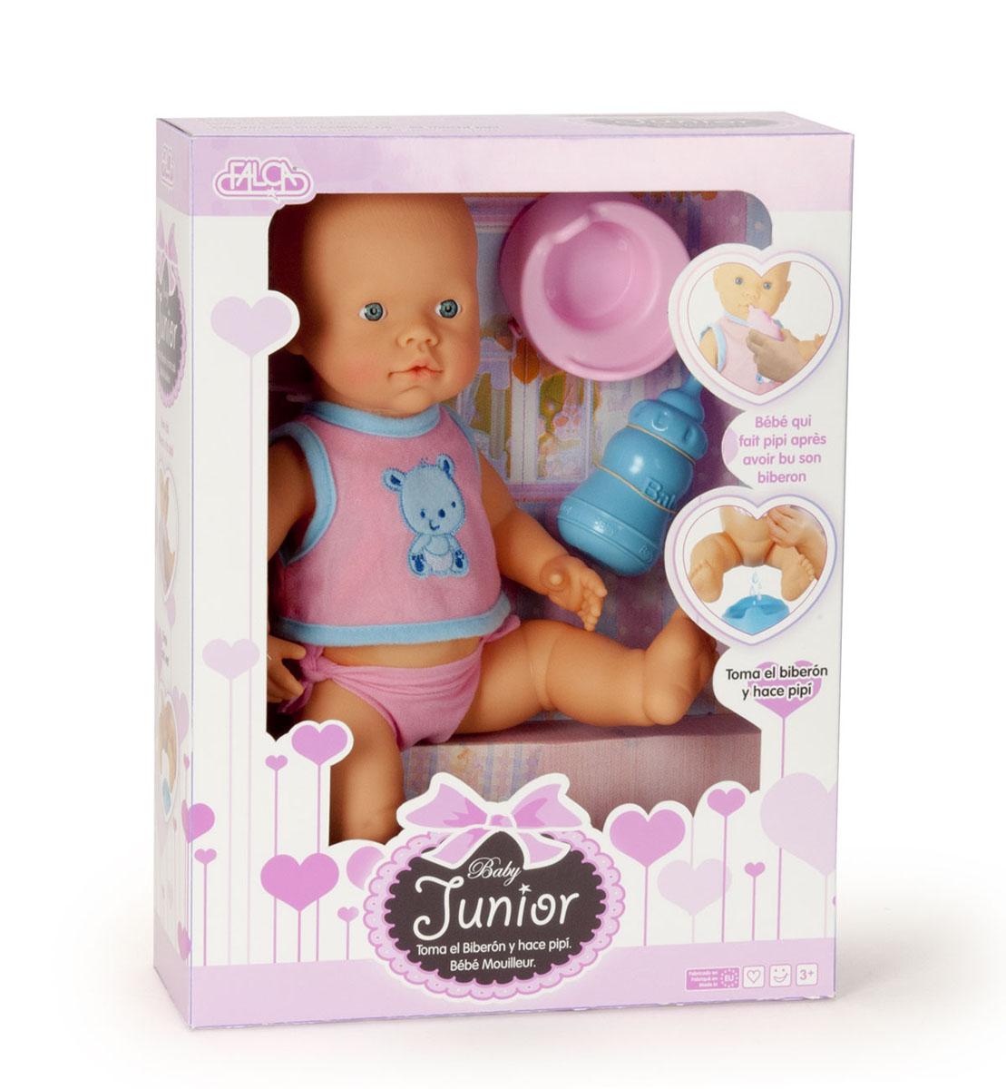 Кукла 40503 Пупс 40 см (пьет и писает), с аксессуарами, в коробке TM FALCA40503Игрушка пупс – кукла без волосиков, одета в розовый костюмчик. В наборе с куклой есть бутылочка для кормления. Пупс умеет пить водичку и писать. В наборе с пупсом есть горшок, на который можно сажать пупса, чтобы он пописал. Высота пупса 40 см