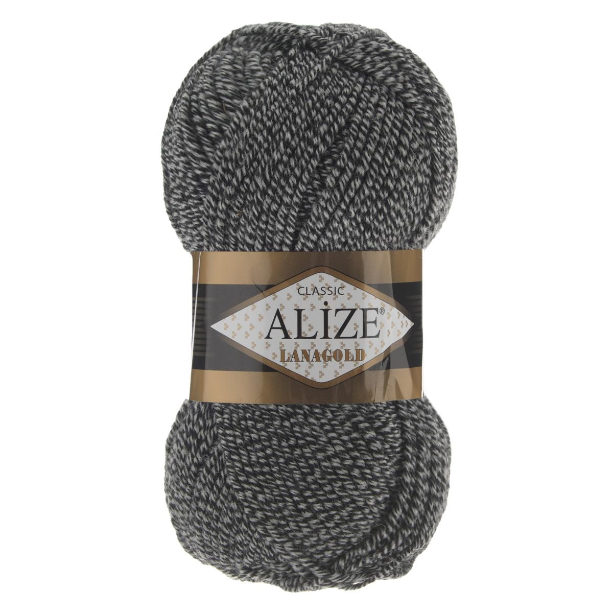 Пряжа для вязания Alize Lanagold, цвет: черный, светло-серый (601), 240 м, 100 г, 5 шт364095_601Alize Lanagold - это полушерстяная пряжа для ручного вязания. Нить плотно скручена, гибкая, послушная, не пушится, не электризуется, аккуратно ложится в петли и не деформируется после распускания. Стойкое равномерное окрашивание обеспечивает широкую палитру оттенков. Соотношение шерсти и акрила - формула практичности. Высокие тепловые характеристики сочетаются с эстетикой, носкостью и простотой ухода за вещью. Классическая пряжа для зимнего сезона, может использоваться для детской и взрослой одежды. Alize Lanagold - универсальная пряжа, которая будет хорошо смотреться в узорах любой сложности. Рекомендуемый размер спиц 4-6 мм. Состав: 49% шерсть, 51% акрил.
