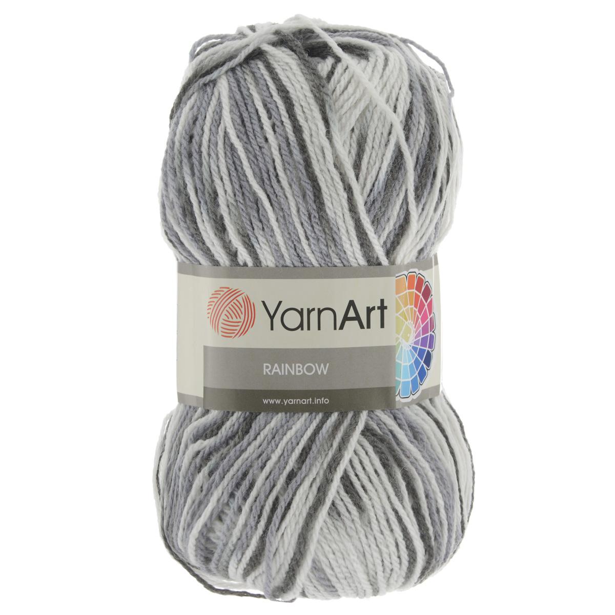 Пряжа для вязания YarnArt Rainbow, цвет: белый, светло-серый, серый (1958), 310 м, 100 г, 5 шт372030_1958В состав пряжи YarnArt Rainbow входит шерсть и волокна акрила. Такой сбалансированный состав обеспечивает готовым вещам удобство и практичность в использовании, а для мастериц спиц и крючка - возможность показать свое искусство. Классическая демисезонная пряжа YarnArt Rainbow - просто находка для вывязывания плотных теплых вещей. Наличие большого выбора расцветок пряжи предоставляет неограниченный простор для воплощения в реальность самых сложных узоров и мотивов. Качественная деликатная нить послушна и в плотной вязке, и в нежном ажуре. Состав: 80% акрил, 20% шерсть. Рекомендованные спицы и крючок 4 мм. Комплектация: 5 мотков.