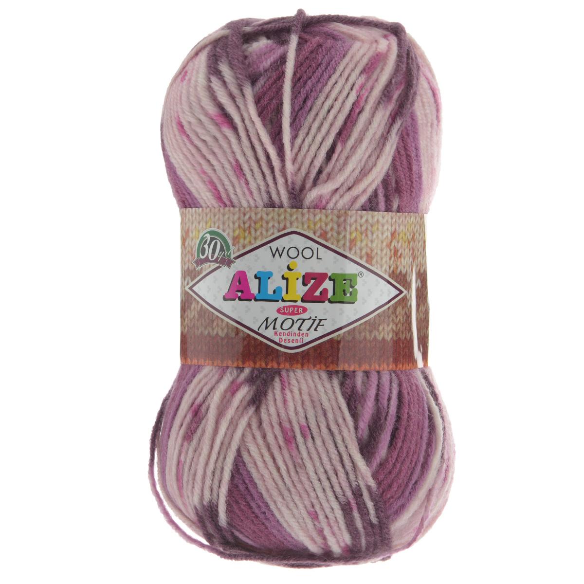 Пряжа для вязания Alize Motif, цвет: белый, розовый, бордовый (2955), 200 м, 100 г, 5 шт367014_2955Турецкая пряжа Alize MOTIF для ручного вязания. Нить толстая крученая, очень мягкая. Хорошо подходит для вязания теплых свитеров, пальто, изделий для интерьера. Оригинальное сочетание разноцветного узора и полос. Теплая осенне-зимняя пряжа для всей семьи. При вязании лицевой гладью складываются жаккардовые узоры. Состав: 80% акрил, 20% шерсть. Рекомендованные спицы № 5-6.