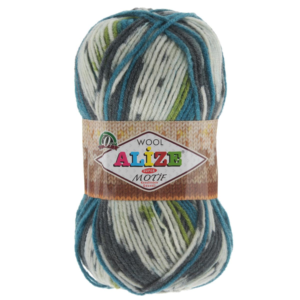 Пряжа для вязания Alize Motif, цвет: белый, серый, зеленый (4326), 200 м, 100 г, 5 шт367014_4326Турецкая пряжа Alize MOTIF для ручного вязания. Нить толстая крученая, очень мягкая. Хорошо подходит для вязания теплых свитеров, пальто, изделий для интерьера. Оригинальное сочетание разноцветного узора и полос. Теплая осенне-зимняя пряжа для всей семьи. При вязании лицевой гладью складываются жаккардовые узоры. Состав: 80% акрил, 20% шерсть. Рекомендованные спицы № 5-6.