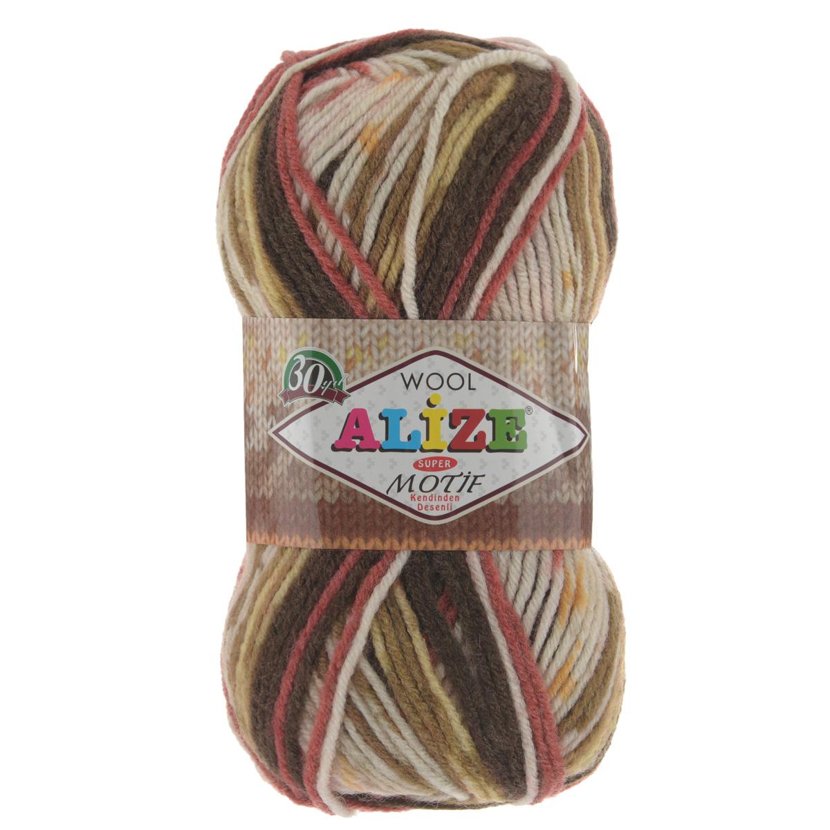 Пряжа для вязания Alize Motif, цвет: белый, коричневый, красный (2958), 200 м, 100 г, 5 шт367014_2958Турецкая пряжа Alize MOTIF для ручного вязания. Нить толстая крученая, очень мягкая. Хорошо подходит для вязания теплых свитеров, пальто, изделий для интерьера. Оригинальное сочетание разноцветного узора и полос. Теплая осенне-зимняя пряжа для всей семьи. При вязании лицевой гладью складываются жаккардовые узоры. Состав: 80% акрил, 20% шерсть. Рекомендованные спицы № 5-6.