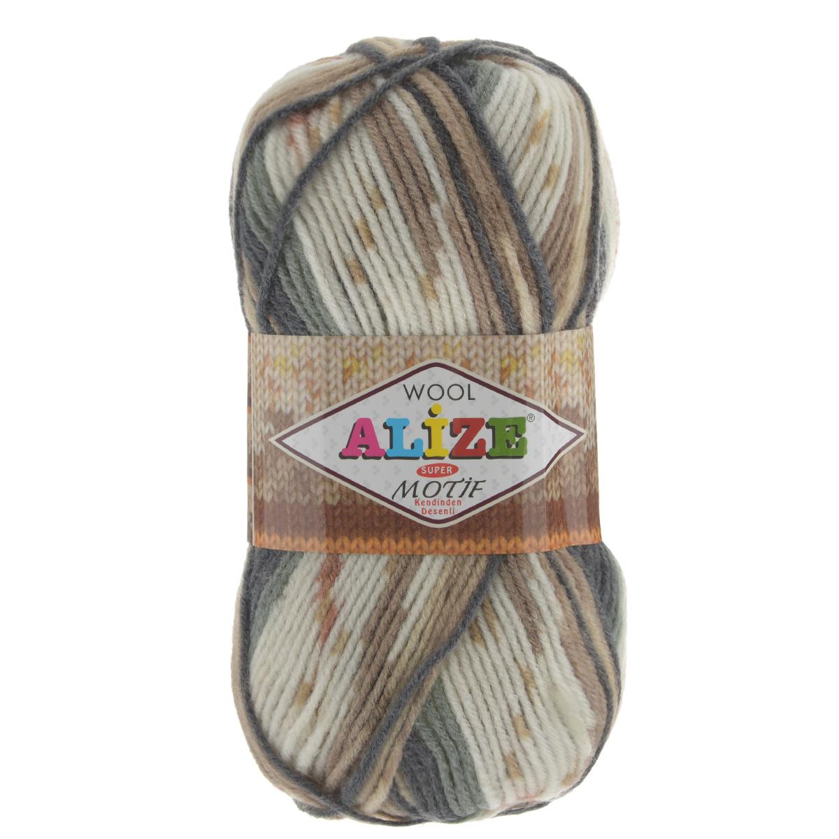 Пряжа для вязания Alize Motif, цвет: белый, бежевый, серый (2959), 200 м, 100 г, 5 шт367014_2959Турецкая пряжа Alize MOTIF для ручного вязания. Нить толстая крученая, очень мягкая. Хорошо подходит для вязания теплых свитеров, пальто, изделий для интерьера. Оригинальное сочетание разноцветного узора и полос. Теплая осенне-зимняя пряжа для всей семьи. При вязании лицевой гладью складываются жаккардовые узоры. Состав: 80% акрил, 20% шерсть. Рекомендованные спицы № 5-6.