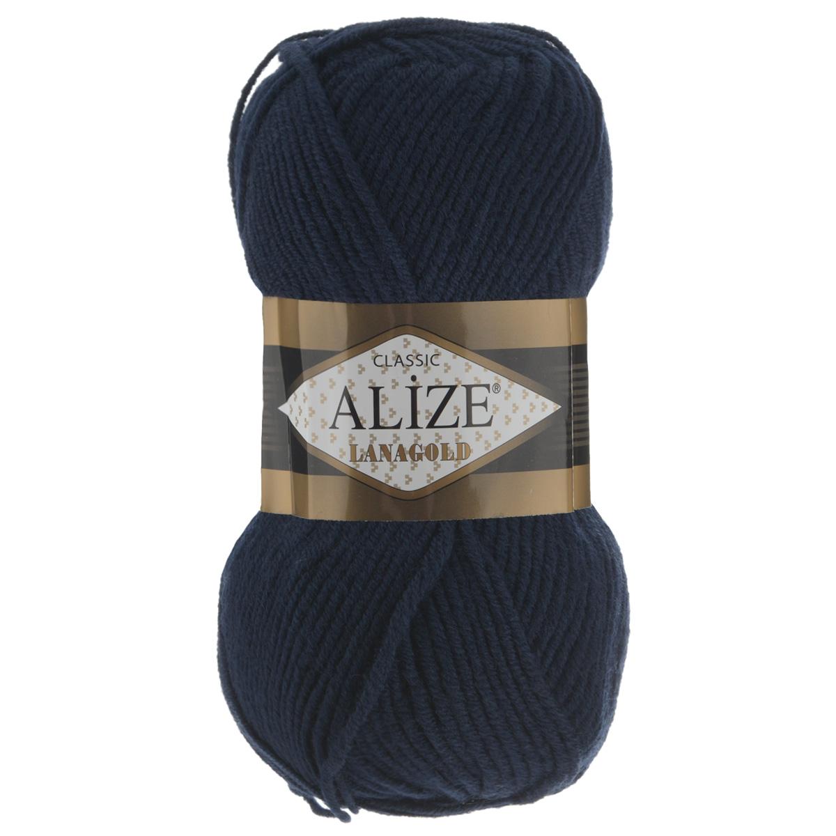 Пряжа для вязания Alize Lanagold, цвет: темно-синий (58), 240 м, 100 г, 5 шт364095_58Alize Lanagold - это полушерстяная пряжа для ручного вязания. Нить плотно скручена, гибкая, послушная, не пушится, не электризуется, аккуратно ложится в петли и не деформируется после распускания. Стойкое равномерное окрашивание обеспечивает широкую палитру оттенков. Соотношение шерсти и акрила - формула практичности. Высокие тепловые характеристики сочетаются с эстетикой, носкостью и простотой ухода за вещью. Классическая пряжа для зимнего сезона, может использоваться для детской и взрослой одежды. Alize Lanagold - универсальная пряжа, которая будет хорошо смотреться в узорах любой сложности. Рекомендуемый размер спиц 4-6 мм. Состав: 49% шерсть, 51% акрил.