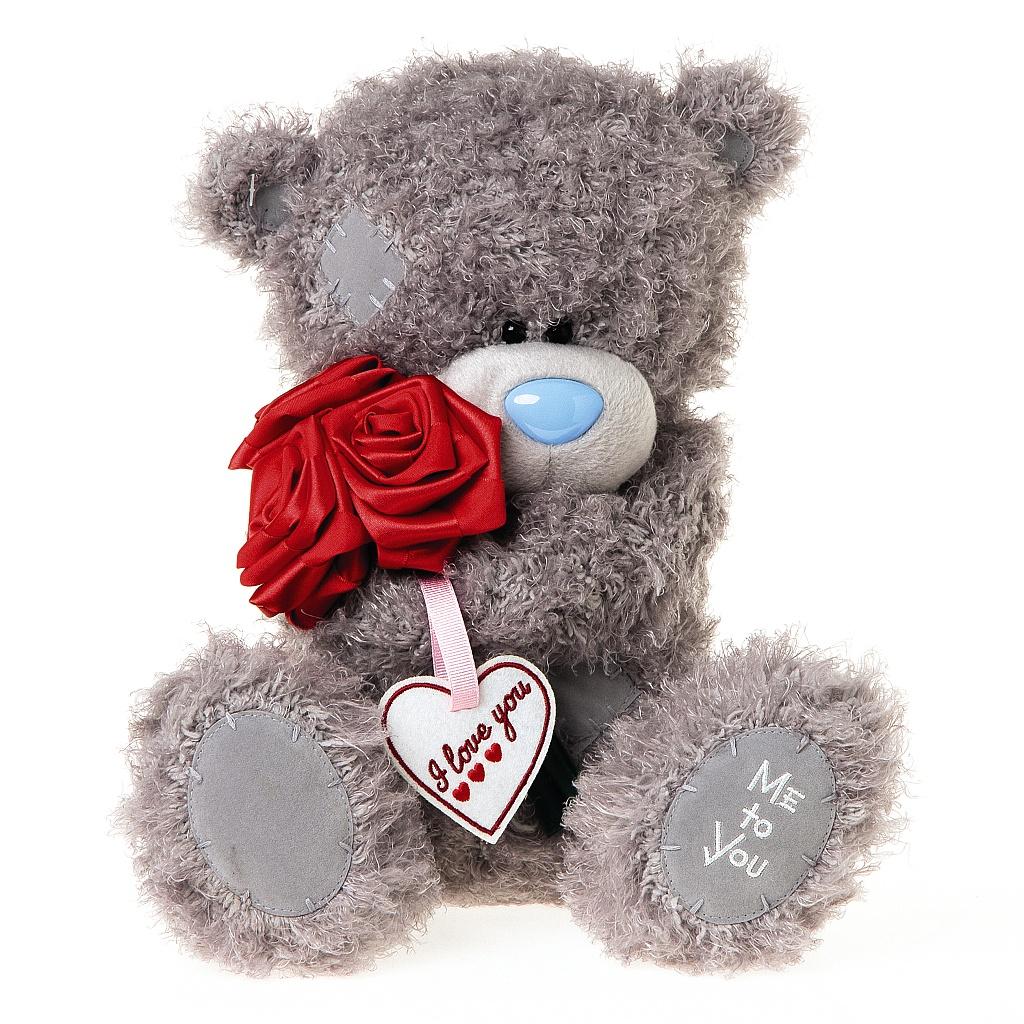 Me to You Мишка Тедди с розамиG01W3825Серый мишка Тедди с заплатками держит в лапках букет красных роз с табличкой I love You. Это лучший способ, чтобы выразить свою любовь