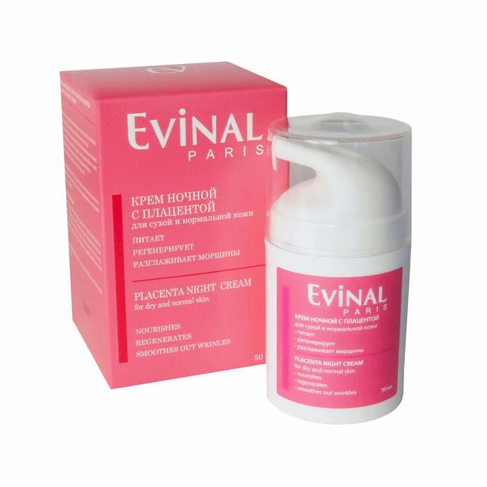 Крем Evinal с экстрактом плаценты, ночной, для сухой и нормальной кожи, 50 мл0981Регенерирующий ночной крем Evinal от морщин обеспечивает комплексный уход за кожей лица, воздействуя на нее в часы сна. Стимулирует пять основных функций, обеспечивающих молодой вид кожной поверхности: регенерацию, увлажнение, питание, кислородный обмен и защиту от воздействия неблагоприятных факторов окружающей среды. Ферменты плаценты, содержащиеся в креме нейтрализуют действие свободных радикалов, оказывающих решающее воздействие на процессы старения. Питает и увлажняет за счет высокого содержания аминокислот и гиалуроновой кислоты. Благодаря тонкой текстуре, равномерно распределяющей активные компоненты, хорошо впитывается и усваивается всеми слоями эпидермиса.
