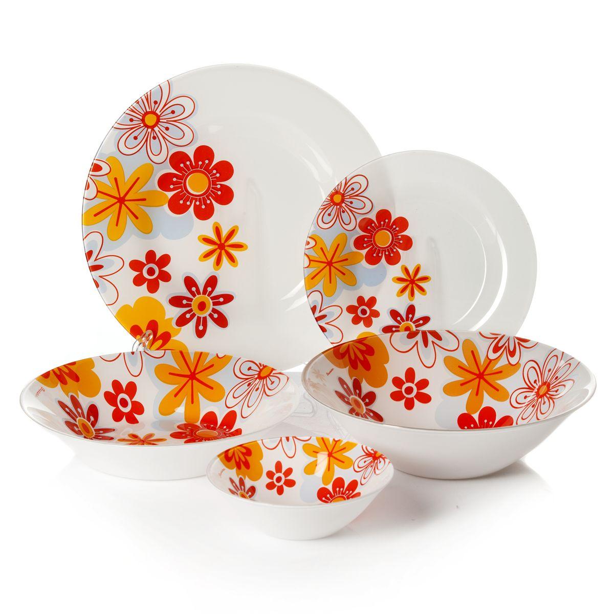 Набор посуды Pasabahce Workshop Summer, цвет: белый, оранжевый, голубой, 25 предметов95665BDНабор посуды Pasabahce Summer изготовлен из натрий-кальций-силикатного стекла. Предметы набора оформлены изящным цветочным рисунком. В набор входят: 6 тарелок диаметром 19,5 см, 6 тарелок диаметром 26 см, 6 тарелок диаметром 22 см, 6 салатников диаметром 14 см, салатник диаметром 23 см. Набор создаст отличное настроение во время обеда, будет уместен на любой кухне и понравится каждой хозяйке. Практичный и современный дизайн делает набор довольно простым и удобным в эксплуатации. Изделия можно мыть в посудомоечной машине. Количество тарелок: 18 шт. Диаметры тарелок: 19,5 см (6 шт), 22 см (6 шт), 26 см (6 шт). Высота стенок тарелок: 1,5 см, 4,5 см, 2 см. Количество салатников: 7 шт. Диаметры салатников: 14 см (6 шт), 23 см (1 шт). Высота стенок салатников: 4,5 см, 6,5 см.