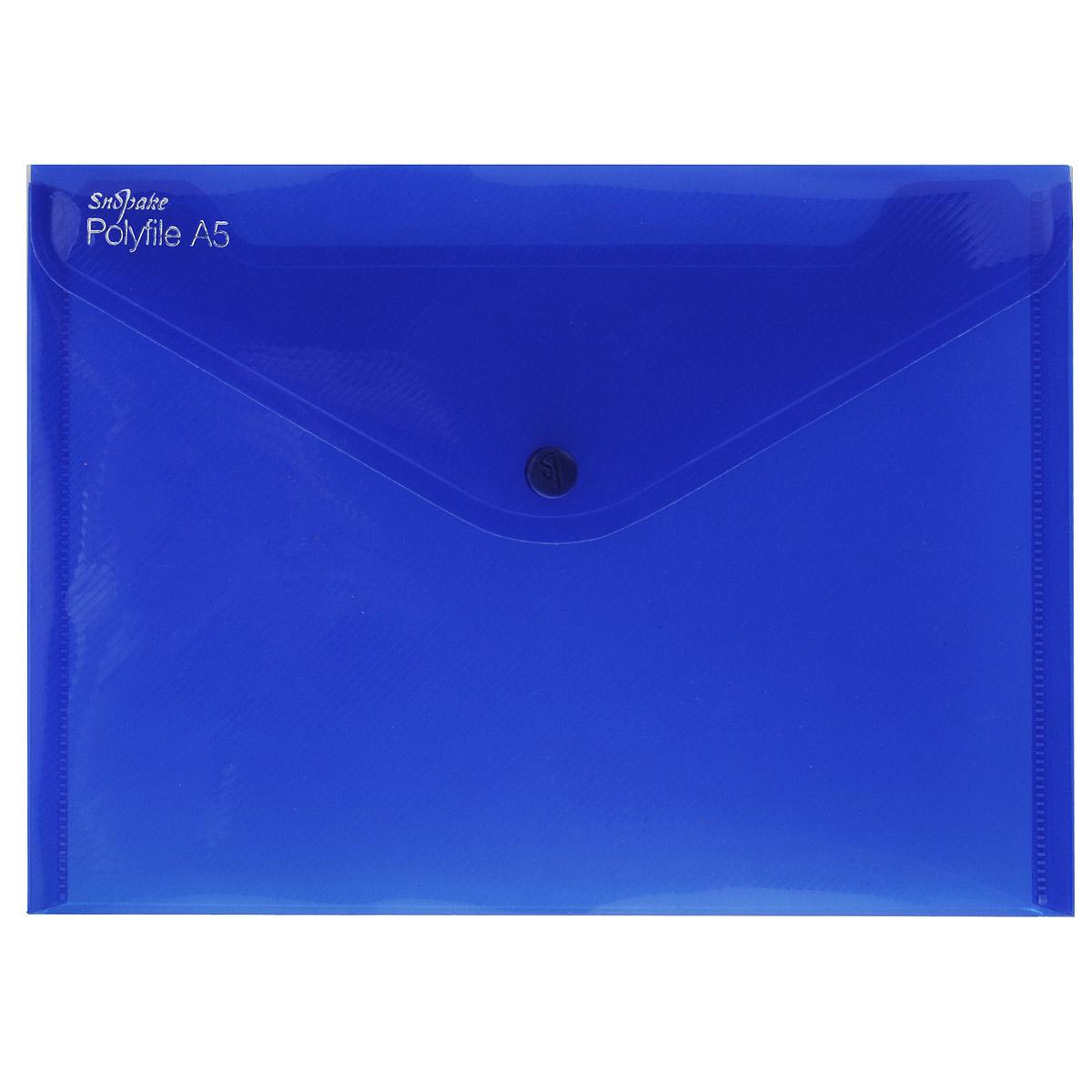 Папка-конверт на кнопке Snopake Polyfile: Electra. Формат А5, цвет: синийK11355