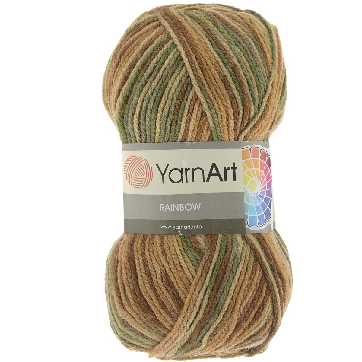 Пряжа для вязания YarnArt Rainbow, цвет: коричневый, бежевый, зеленый (0032), 310 м, 100 г, 5 шт372030_0032В состав пряжи YarnArt Rainbow входит шерсть и волокна акрила. Такой сбалансированный состав обеспечивает готовым вещам удобство и практичность в использовании, а для мастериц спиц и крючка - возможность показать свое искусство. Классическая демисезонная пряжа YarnArt Rainbow - просто находка для вывязывания плотных теплых вещей. Наличие большого выбора расцветок пряжи предоставляет неограниченный простор для воплощения в реальность самых сложных узоров и мотивов. Качественная деликатная нить послушна и в плотной вязке, и в нежном ажуре. Состав: 80% акрил, 20% шерсть. Рекомендованные спицы и крючок 4 мм. Комплектация: 5 мотков.