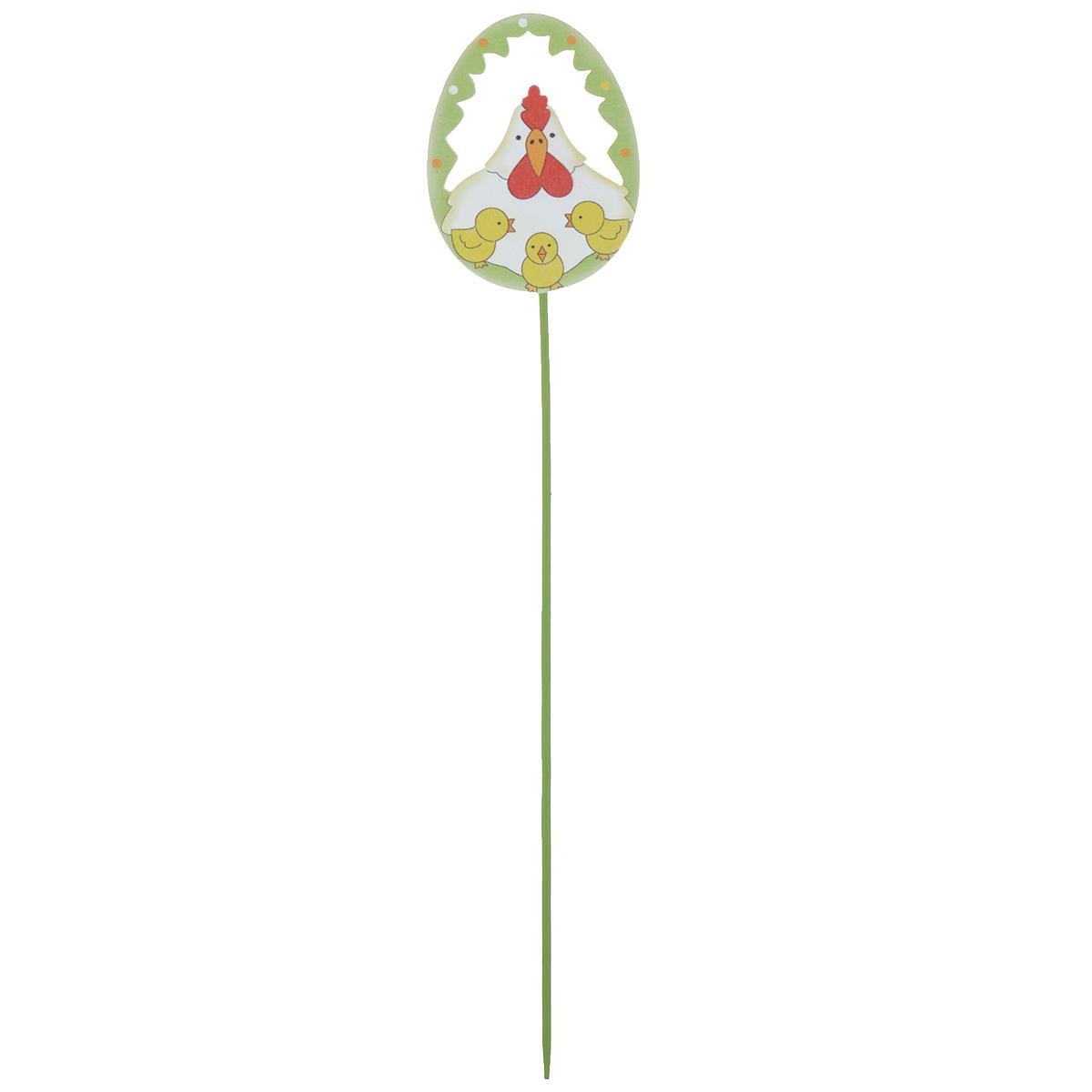"""Декоративное украшение на ножке Home Queen """"Веселье. Курица"""", цвет: белый, зеленый, высота 26,5 см"""