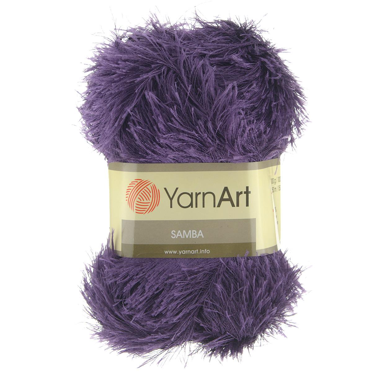Пряжа для вязания YarnArt Samba, цвет: фиолетовый (28), 150 м, 100 г, 5 шт372009_28Пряжа Samba представляет собой яркий пример отделочной нити, с помощью которой можно придать оригинальность и красоту каждому изделию. Нить удобна тем, что подлежит работе и крючком, и спицами. Также можно использовать в одном изделии как одну пряжу Samba, так и комбинировать с ней разные виды нити. То есть, если вязать пряжей Samba, получается просто пушистое полотно, не сохраняющее тепло, обладающее исключительно объемным видом. Если же вязать в две нити: Samba плюс акрил или шерсть, то вещь получается плотная, пушистая и теплая. Пряжа удобна тем, что не требует особых изысков в выборе узора - пушистый ворс нитки делает привлекательным даже обыкновенную гладь. Нить Samba скрученная, средней толщины, послушна в работе, удобно скользит. . Состав: 100% полиэстер. Рекомендованные спицы №5,5, крючок №5,5.