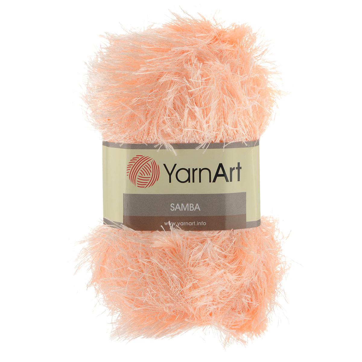 Пряжа для вязания YarnArt Samba, цвет: персиковый (204), 150 м, 100 г, 5 шт372009_204Пряжа Samba представляет собой яркий пример отделочной нити, с помощью которой можно придать оригинальность и красоту каждому изделию. Нить удобна тем, что подлежит работе и крючком, и спицами. Также можно использовать в одном изделии как одну пряжу Samba, так и комбинировать с ней разные виды нити. То есть, если вязать пряжей Samba, получается просто пушистое полотно, не сохраняющее тепло, обладающее исключительно объемным видом. Если же вязать в две нити: Samba плюс акрил или шерсть, то вещь получается плотная, пушистая и теплая. Пряжа удобна тем, что не требует особых изысков в выборе узора - пушистый ворс нитки делает привлекательным даже обыкновенную гладь. Нить Samba скрученная, средней толщины, послушна в работе, удобно скользит. Состав: 100% полиэстер. Рекомендованные спицы №5,5, крючок №5,5.