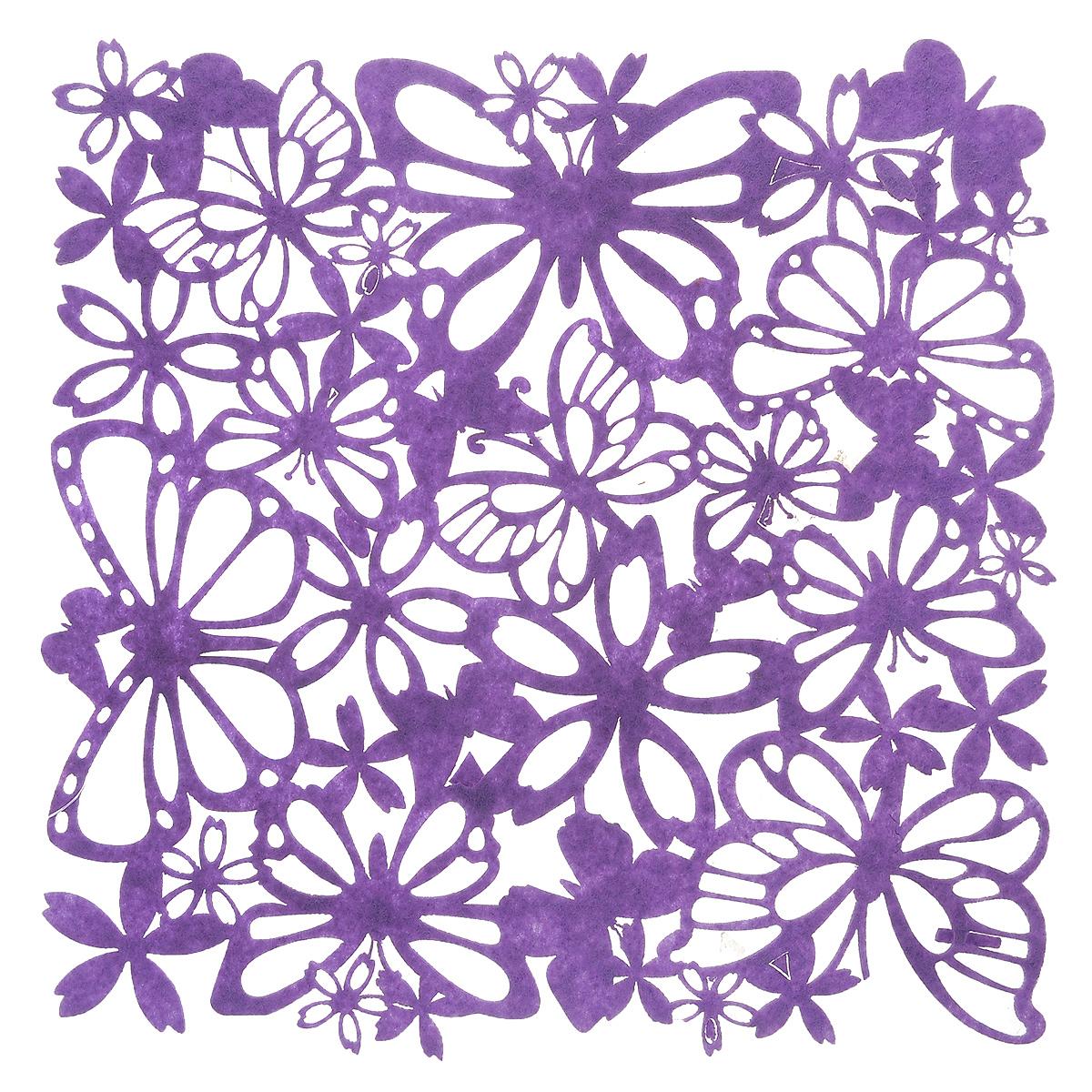 Салфетка Home Queen Взмах крыльев, цвет: фиолетовый, 30 х 30 см66841Квадратная салфетка Home Queen Взмах крыльев изготовлена из фетра и оформлена изысканной перфорацией в виде цветочных узоров и бабочек. Такая салфетка прекрасно подойдет для украшения интерьера кухни, она сбережет стол от высоких температур и грязи.
