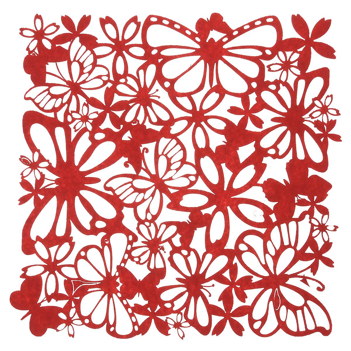 Салфетка Home Queen Взмах крыльев, цвет: красный, 30 х 30 см66841Квадратная салфетка Home Queen Взмах крыльев изготовлена из фетра и оформлена изысканной перфорацией в виде цветочных узоров и бабочек. Такая салфетка прекрасно подойдет для украшения интерьера кухни, она сбережет стол от высоких температур и грязи.