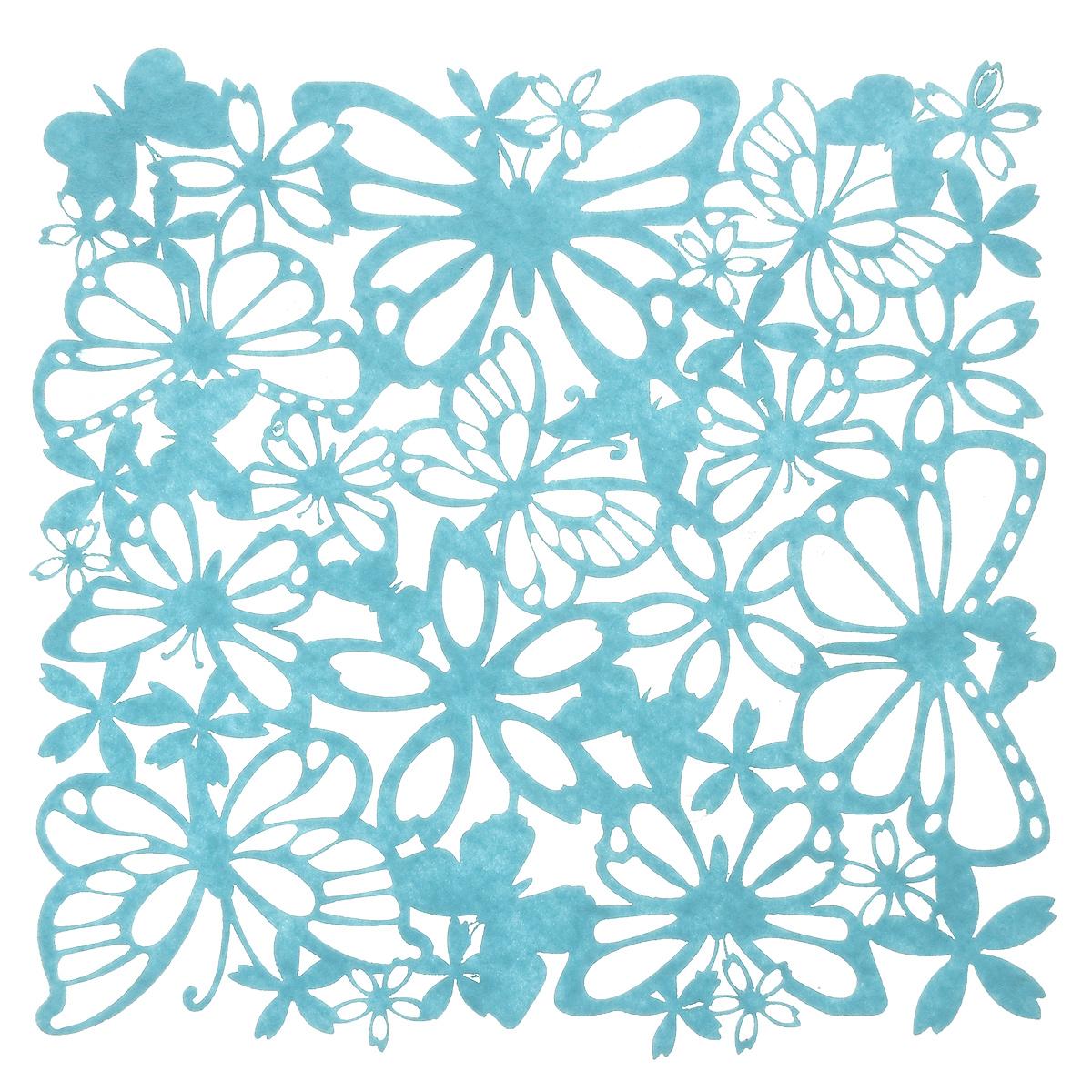 Салфетка Home Queen Взмах крыльев, цвет: голубой, 30 см х 30 см66841Квадратная салфетка Home Queen Взмах крыльев изготовлена из фетра и оформлена изысканной перфорацией в виде цветочных узоров и бабочек. Такая салфетка прекрасно подойдет для украшения интерьера кухни, она сбережет стол от высоких температур и грязи.