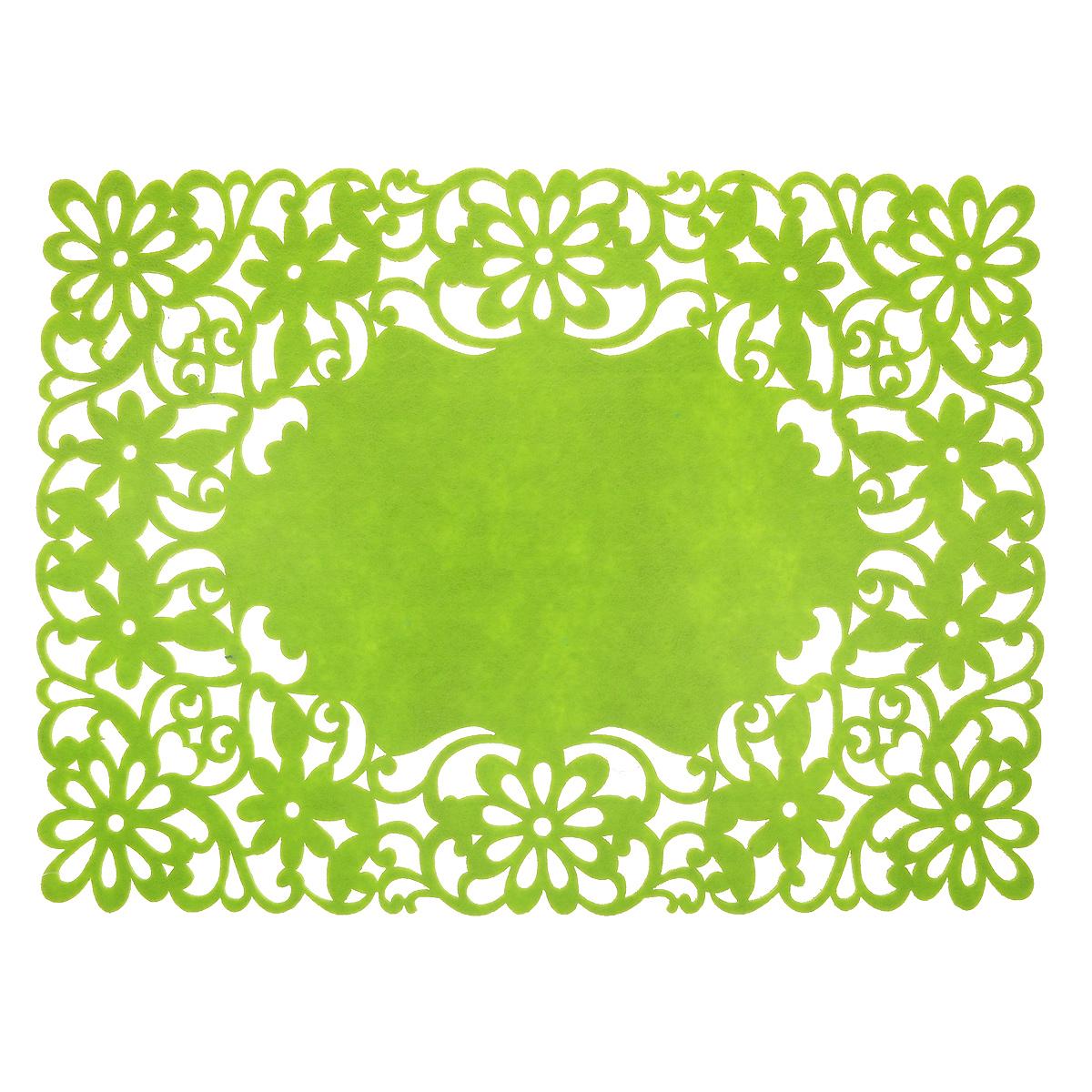 Салфетка Home Queen Цветы, цвет: зеленый, 40 х 30 см64498_2Прямоугольная салфетка Home Queen Цветы изготовлена из фетра и оформлена изысканной перфорацией в виде цветочных узоров. Такая салфетка прекрасно подойдет для украшения интерьера кухни, она сбережет стол от высоких температур и грязи.