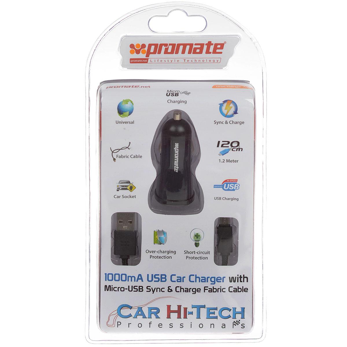 Устройство зарядное Promate uniCharge-M1, с кабелем00007504Promate uniCharge-M1 представляет собой комплект из зарядного устройства с 1А USB портом и кабеля с разъемом USB и Micro-USB на противоположных концах. Оплетка кабеля выполнена из ткани и обладает повышенной термостойкостью и износостойкостью. Promate uniCharge-M1 является универсальным зарядным устройством для всех USB заряжаемых устройств с портом Micro-USB в вашем автомобиле. Сила тока: 1000 мА. Длина кабеля: 1,2 м.