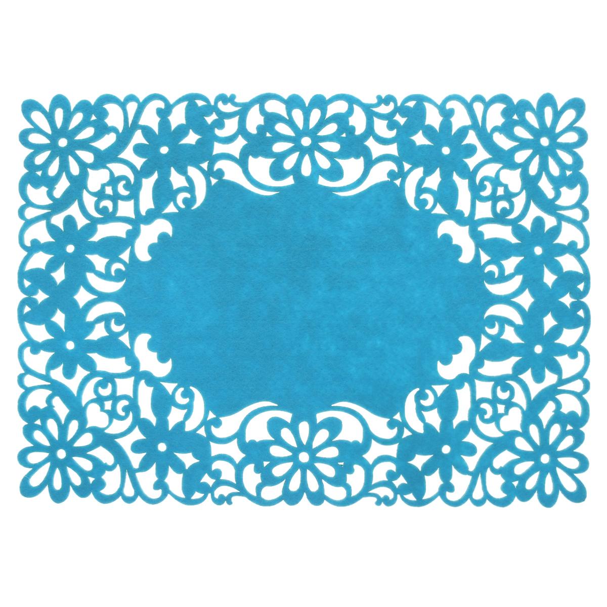 Салфетка Home Queen Цветы, цвет: синий, 40 х 30 см64498_1Прямоугольная салфетка Home Queen Цветы изготовлена из фетра и оформлена изысканной перфорацией в виде цветочных узоров. Такая салфетка прекрасно подойдет для украшения интерьера кухни, она сбережет стол от высоких температур и грязи.