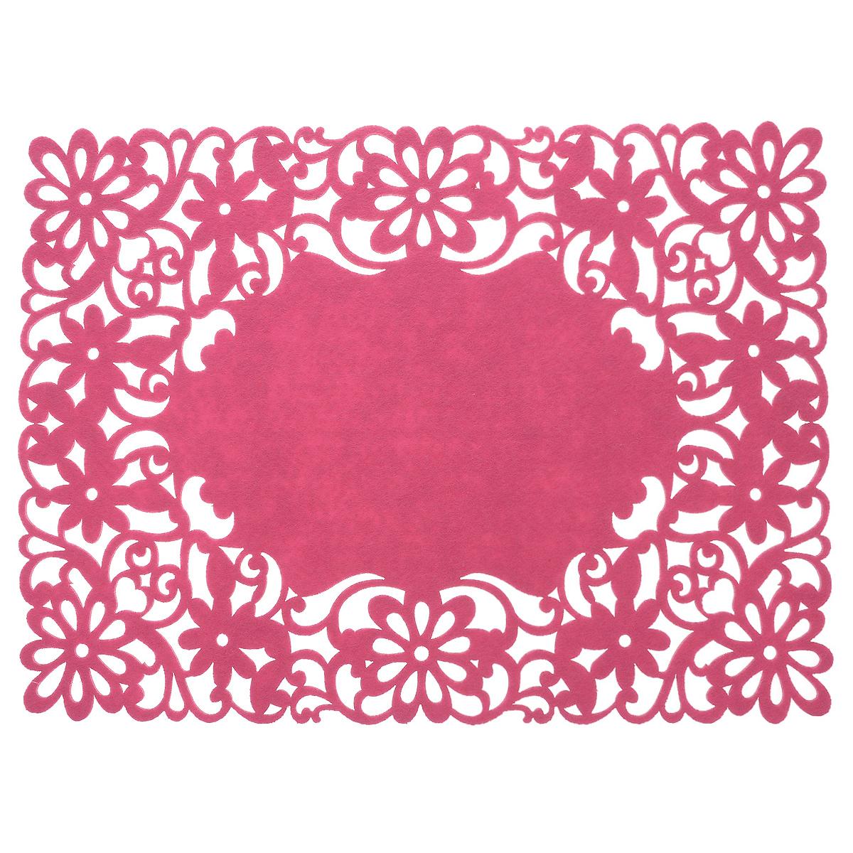 Салфетка Home Queen Цветы, цвет: розовый, 40 см х 30 см64498_3Прямоугольная салфетка Home Queen Цветы изготовлена из фетра и оформлена изысканной перфорацией в виде цветочных узоров. Такая салфетка прекрасно подойдет для украшения интерьера кухни, она сбережет стол от высоких температур и грязи.