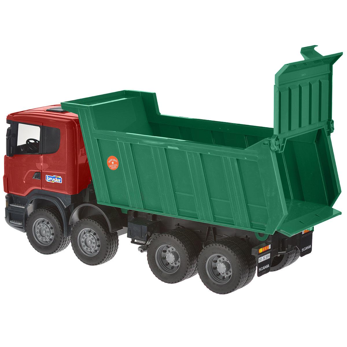 Bruder Самосвал Scania цвет зеленый красный