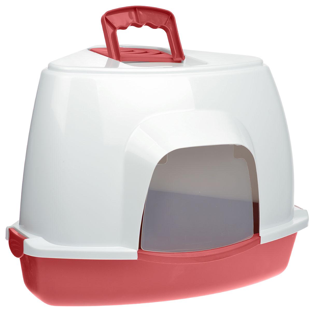 "Туалет для кошек Fauna ""Kitty Luxer"", цвет: красный, белый, 38 см х 38 см х 56 см"