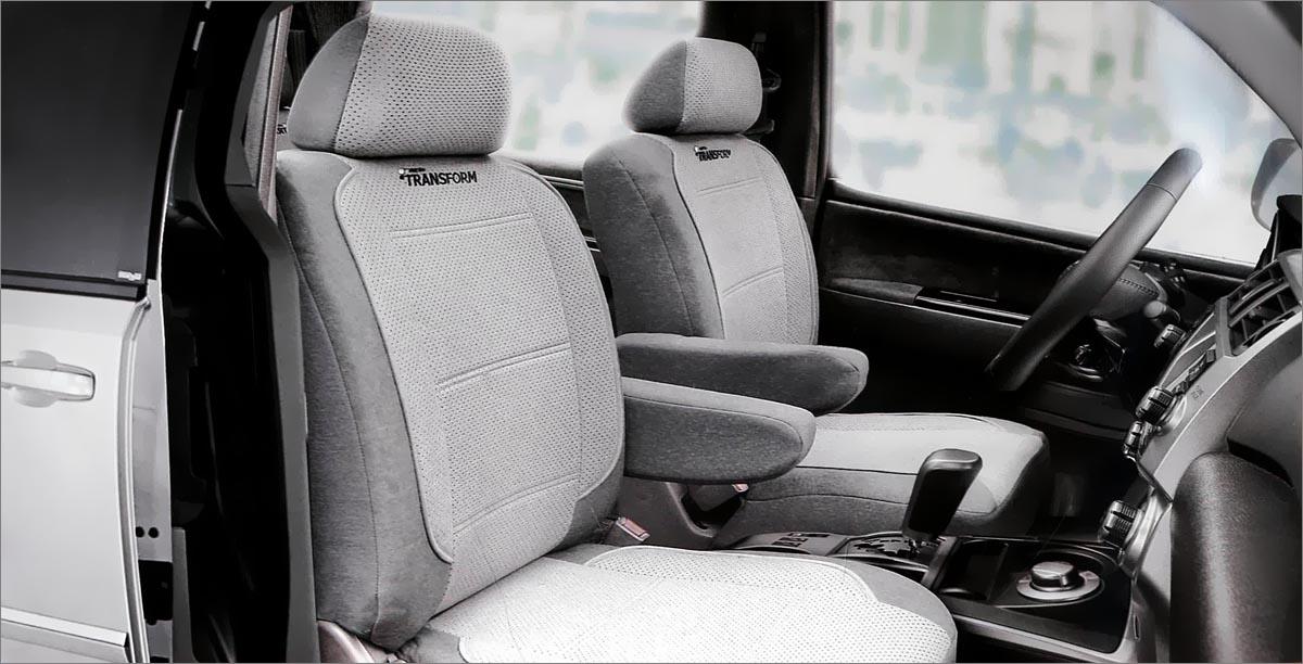 Авточехлы Autoprofi Transform, на 2 кресла и 2 подлокотника, цвет: темно-серый, светло-серый, 8 предметовMPV-001 D.GY/L.GYАвточехлы Autoprofi Transform разработаны специально для микроавтобусов, минивэнов и внедорожников. Данная серия чехлов включает 6 моделей различной комплектации, которые учитывают любые варианты расположения кресел в салоне. Благодаря этому и раздельной схеме надевания, чехлами можно оснастить как пяти-, так и семи- или восьмиместный автомобиль. Серия Transform изготавливается из износостойкого перфорированного велюра, придающего интерьеру автомобиля уютный и ухоженный вид. При необходимости чехлы легко снимаются и быстро сохнут после стирки. Комплектация: - 2 одинарные спинки, - 2 одинарных сиденья, - 2 подголовника, - 2 подлокотника. Особенности: - предустановленные крючки на широких резинках, - толщина поролона: 5 мм.
