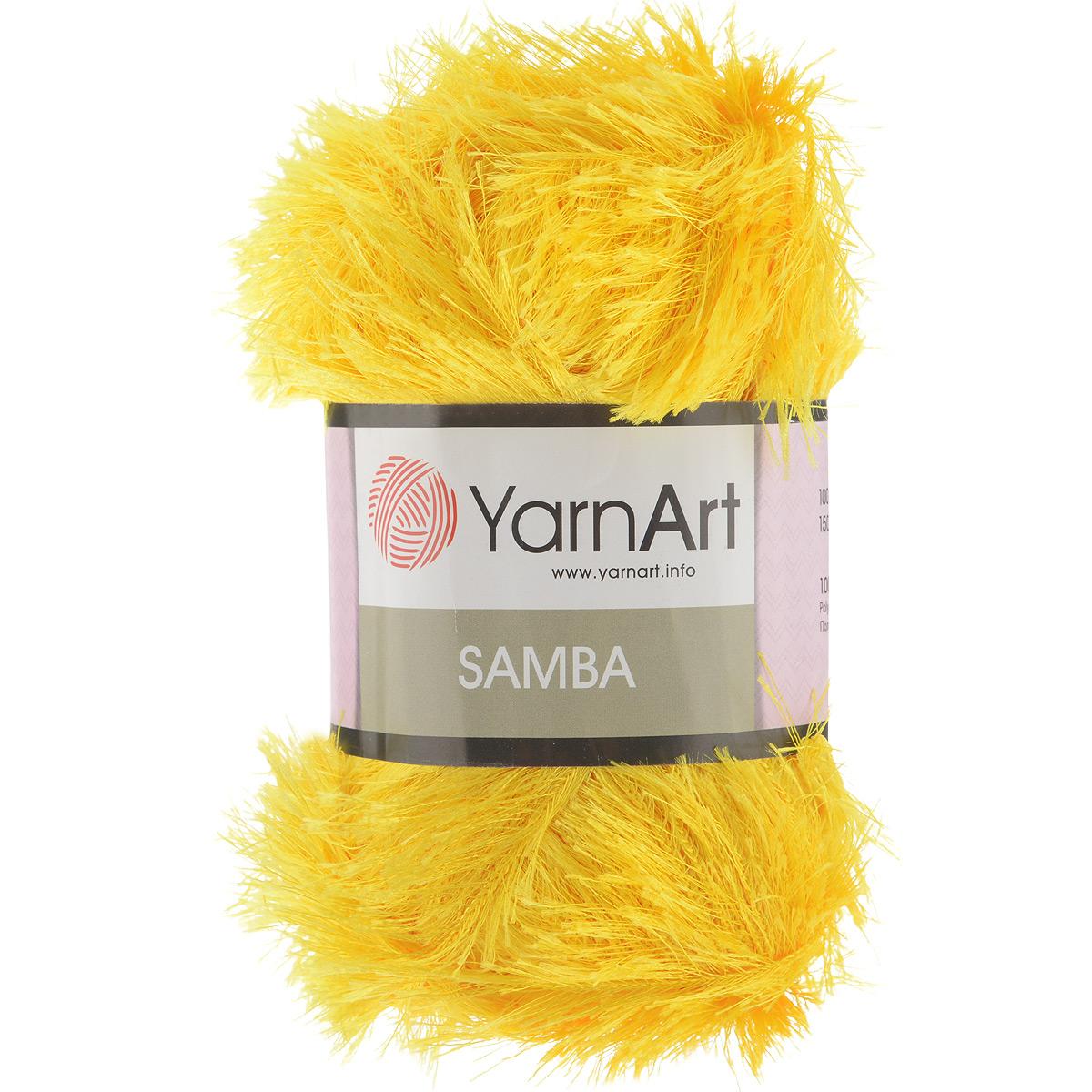 Пряжа для вязания YarnArt Samba, цвет: ярко-желтый (5500), 150 м, 100 г, 5 шт372009_5500Пряжа YarnArt Samba представляет собой яркий пример отделочной нити, с помощью которой можно придать оригинальность и красоту каждому изделию. Нить удобна тем, что подлежит работе и крючком, и спицами. Пряжа YarnArt Samba не требует особых изысков в выборе узора - пушистый ворс нитки делает привлекательным даже обыкновенную гладь. Нить скрученная, средней толщины, послушна в работе, удобно скользит. Состав: 100% полиэстер. Комплектация: 5 мотков. Рекомендованы для вязания спицы № 5,5, крючок № 5,5.