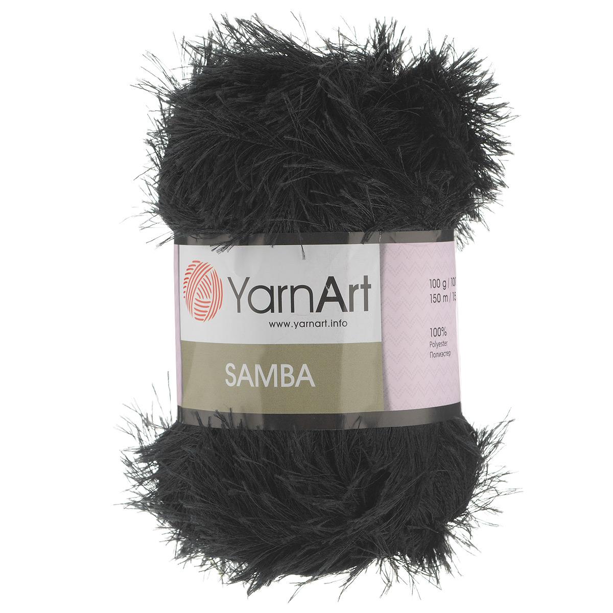 Пряжа для вязания YarnArt Samba, цвет: черный (02), 150 м, 100 г, 5 шт пряжа для вязания yarnart baby color цвет белый черный 273 150 м 50 г 5 шт