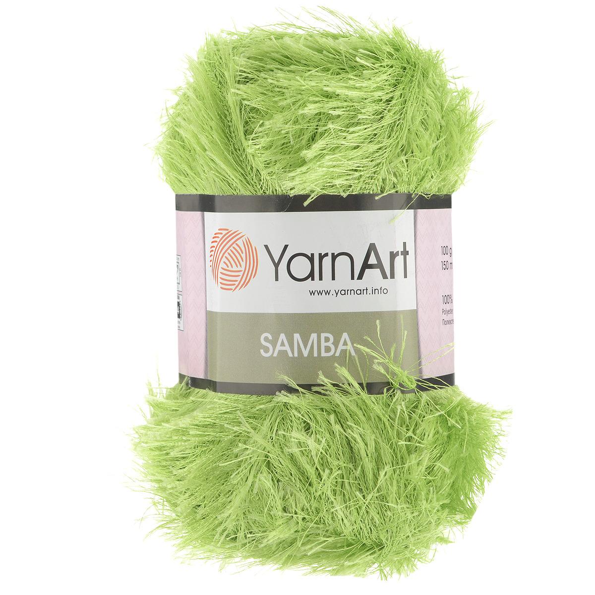 Пряжа для вязания YarnArt Samba, цвет: светло-оливковый (35), 150 м, 100 г, 5 шт372009_35Пряжа YarnArt Samba представляет собой яркий пример отделочной нити, с помощью которой можно придать оригинальность и красоту каждому изделию. Нить удобна тем, что подлежит работе и крючком, и спицами. Пряжа YarnArt Samba не требует особых изысков в выборе узора - пушистый ворс нитки делает привлекательным даже обыкновенную гладь. Нить скрученная, средней толщины, послушна в работе, удобно скользит. Состав: 100% полиэстер. Комплектация: 5 мотков. Рекомендованы для вязания спицы № 5,5, крючок № 5,5.